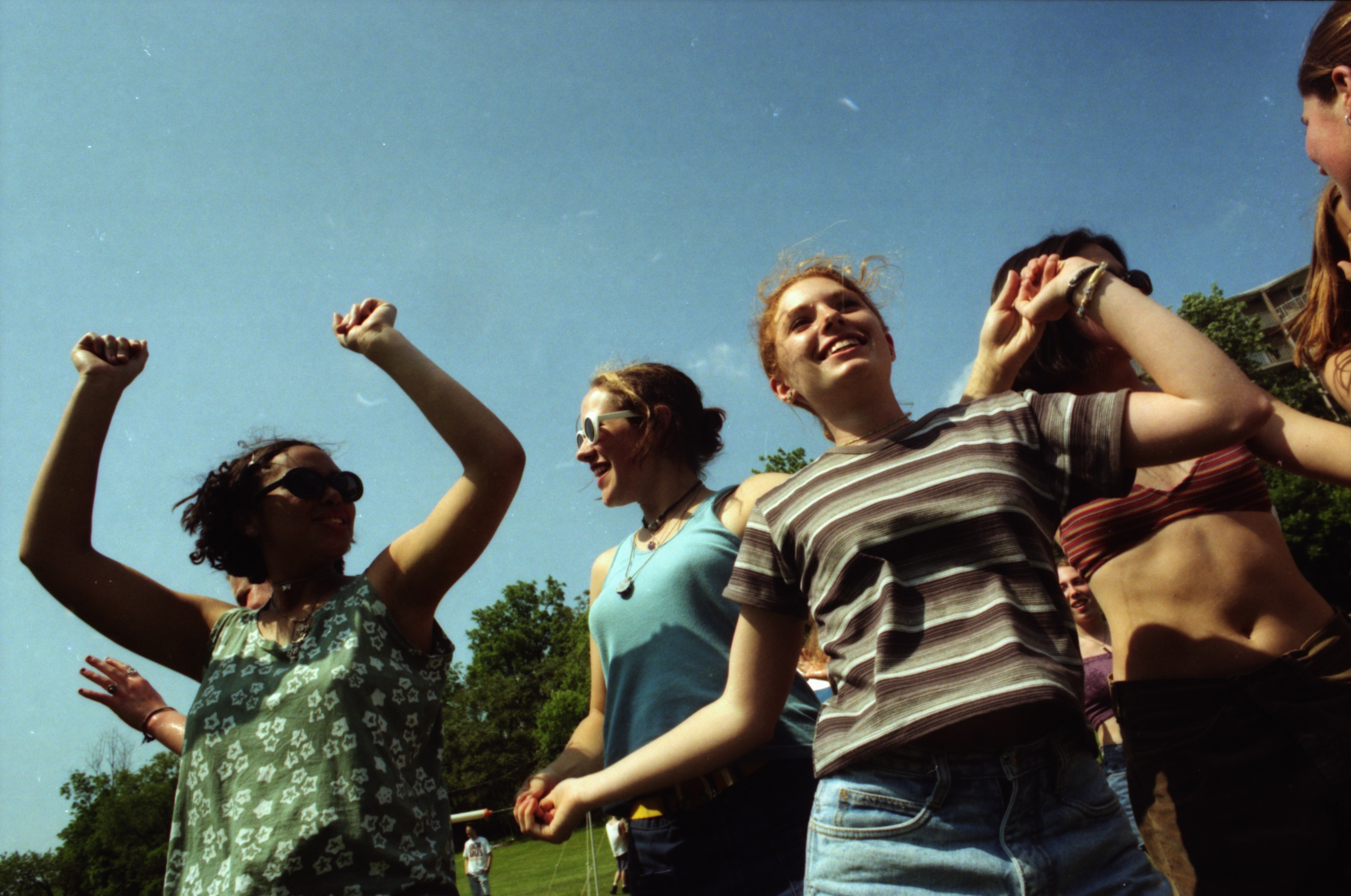 Heather Boyd, Audrey Xenakis and other Community High School students at Comstock, West Park, June 13,1996 image