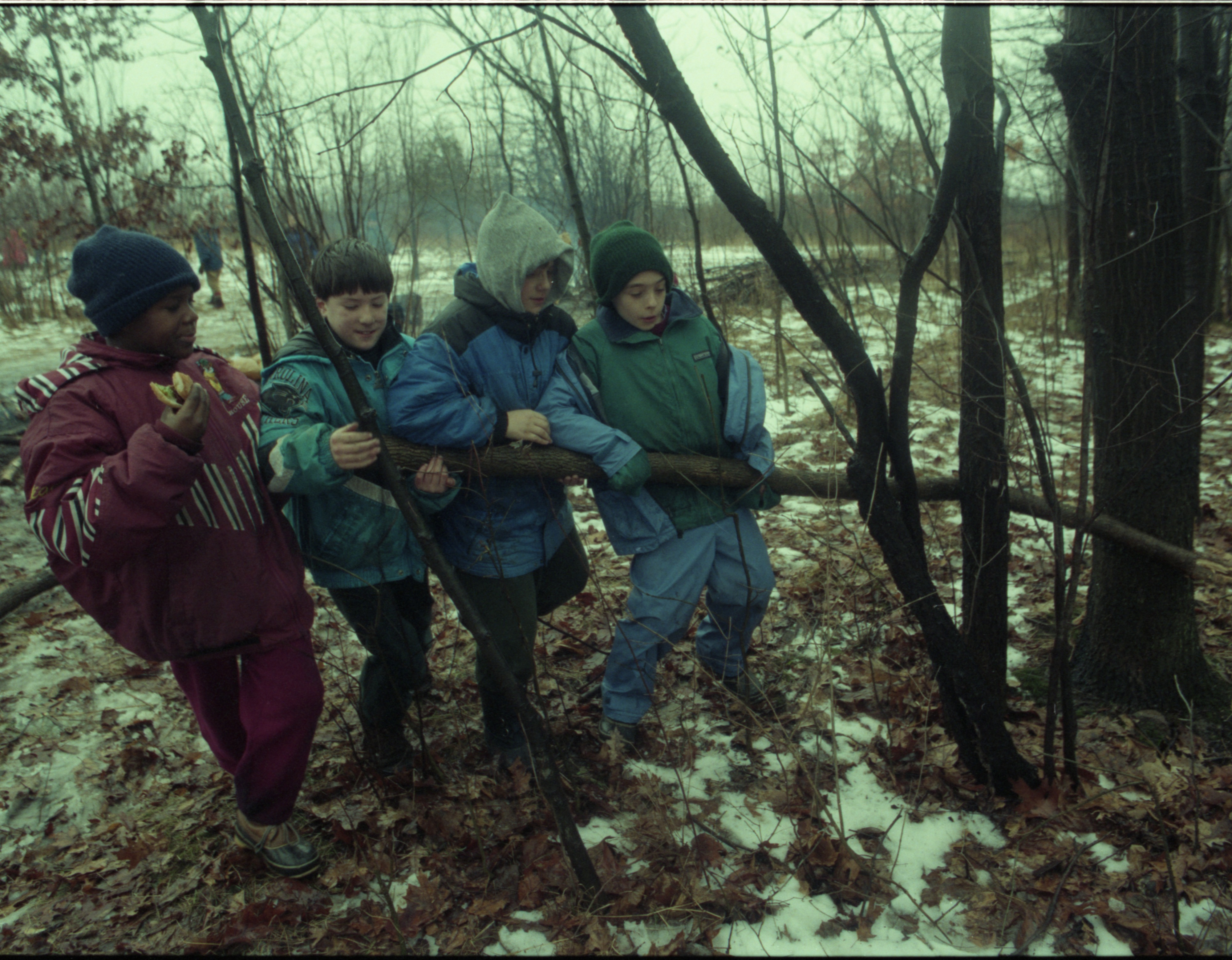 Eberwhite School Students Drag Wood In Winter Survival Skills Outing, January 1997 image