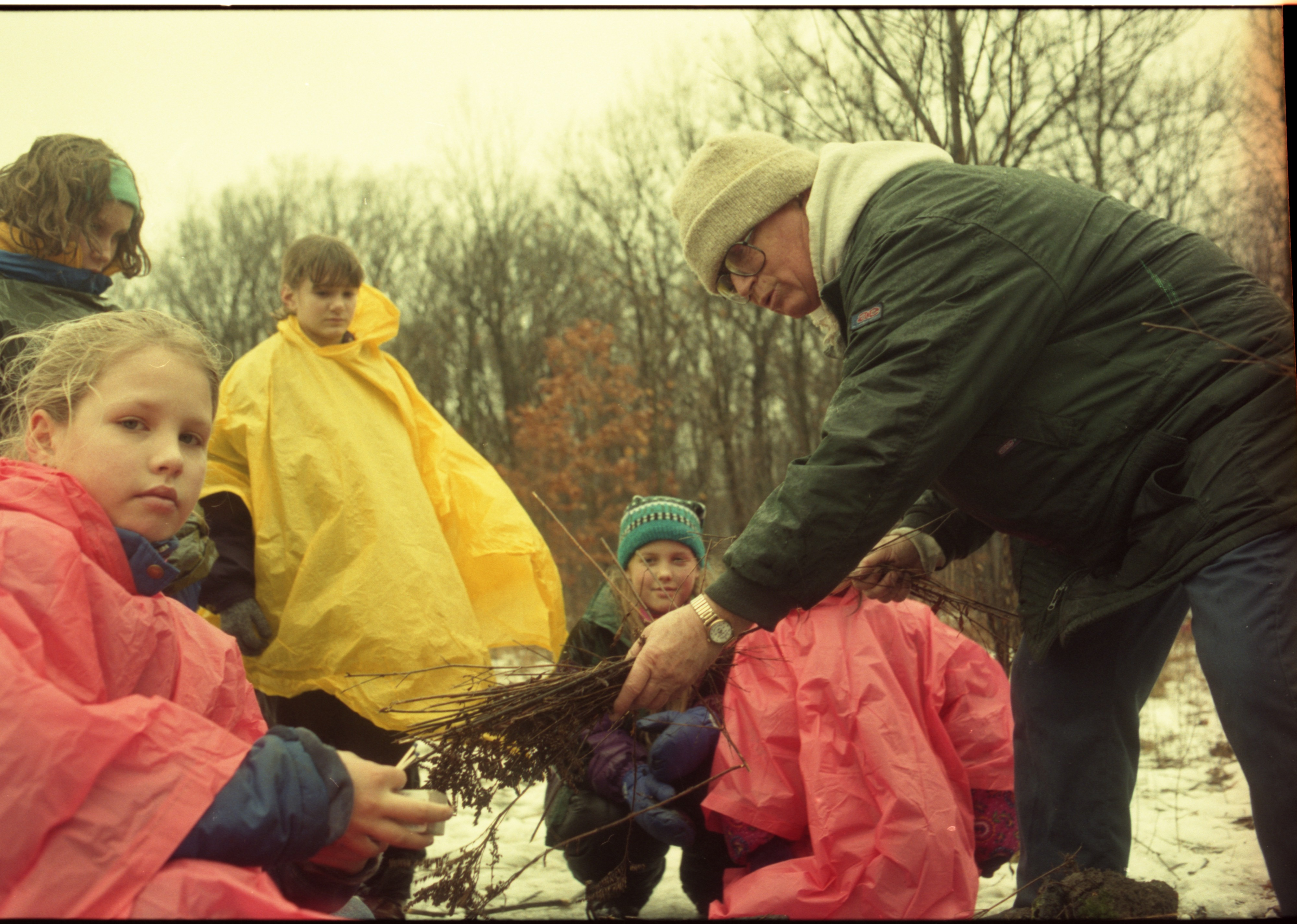 Colorfully Outfitted Eberwhite School Students Participate In Winter Survival Skills Outing, January 1997 image
