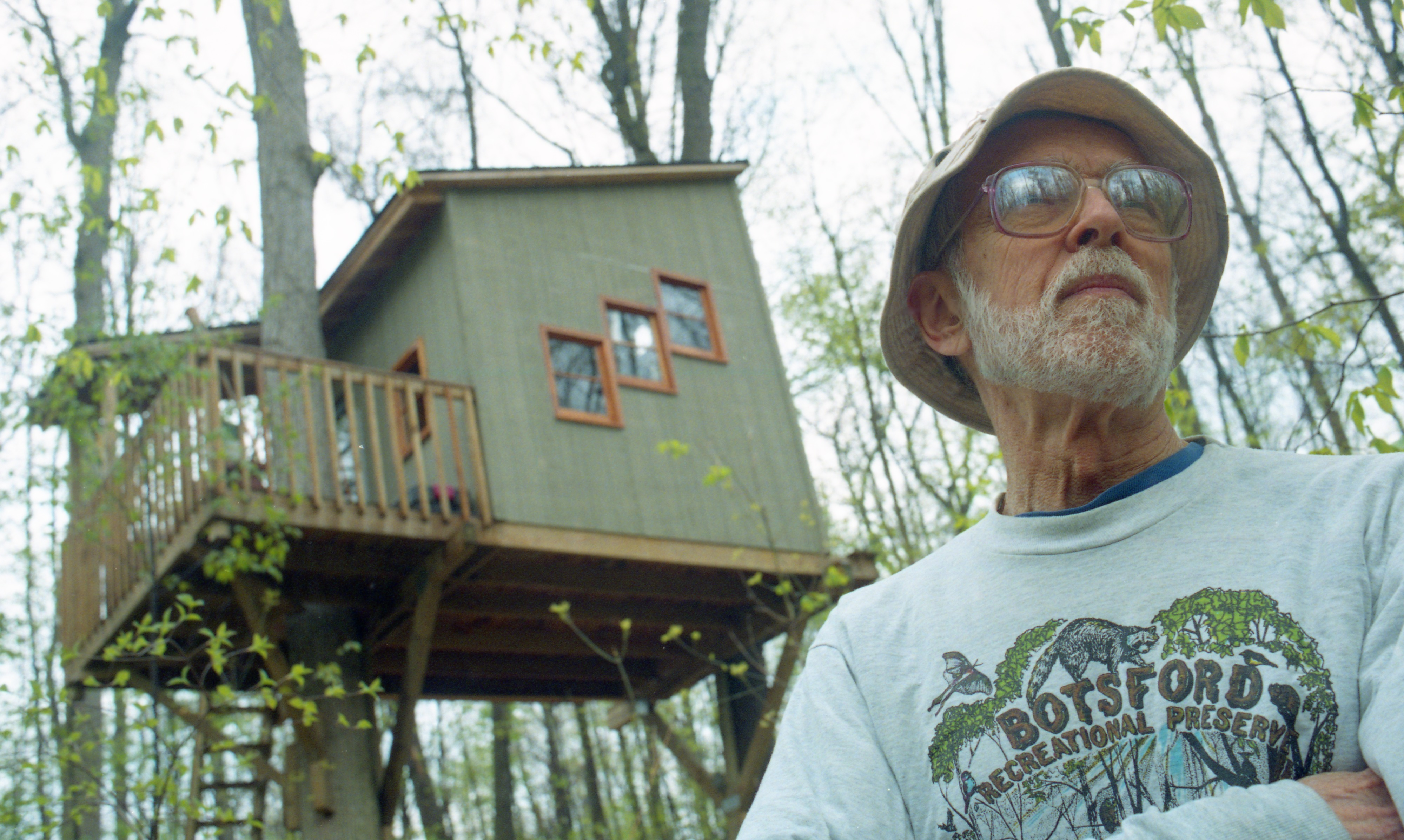 Don Botsford Stands Outside The Tree House On His Recreational Preserve, May 1997 image