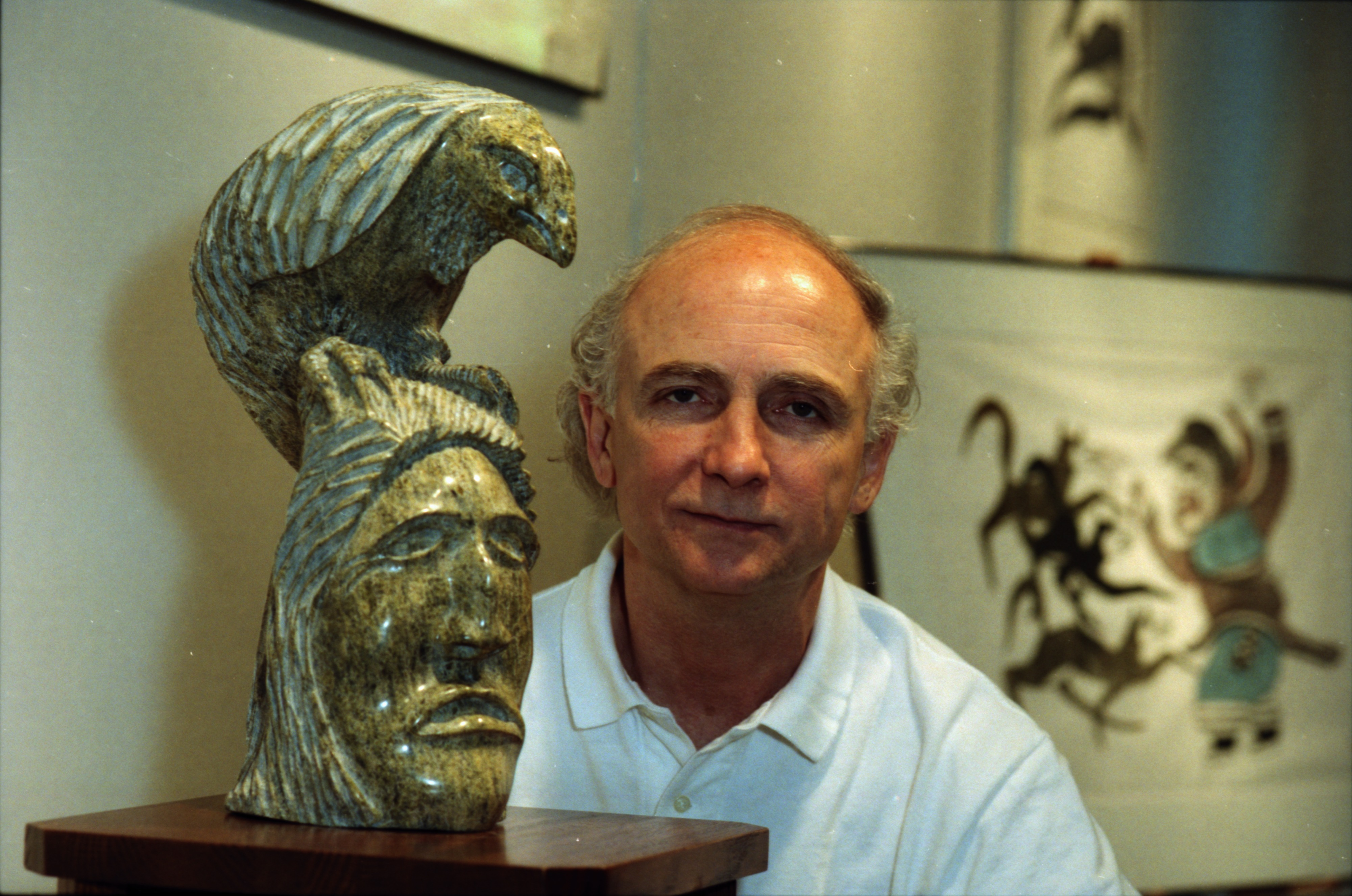 Jack Strickland Posing with Inuit Sculpture at his Gallery, July 1997 image