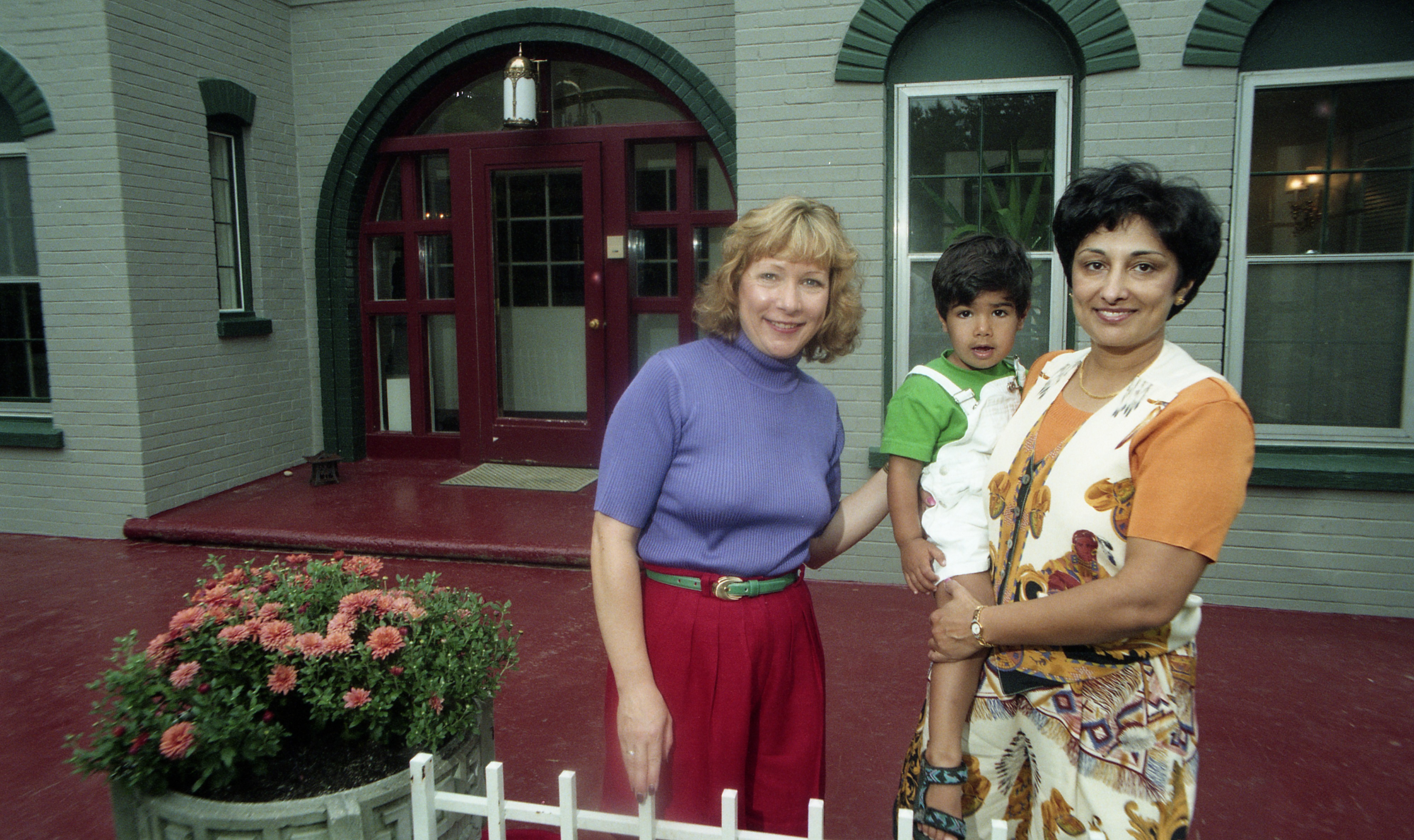 Bennett House, Exterior Front Entrance with Karnani Family, September 1997 image