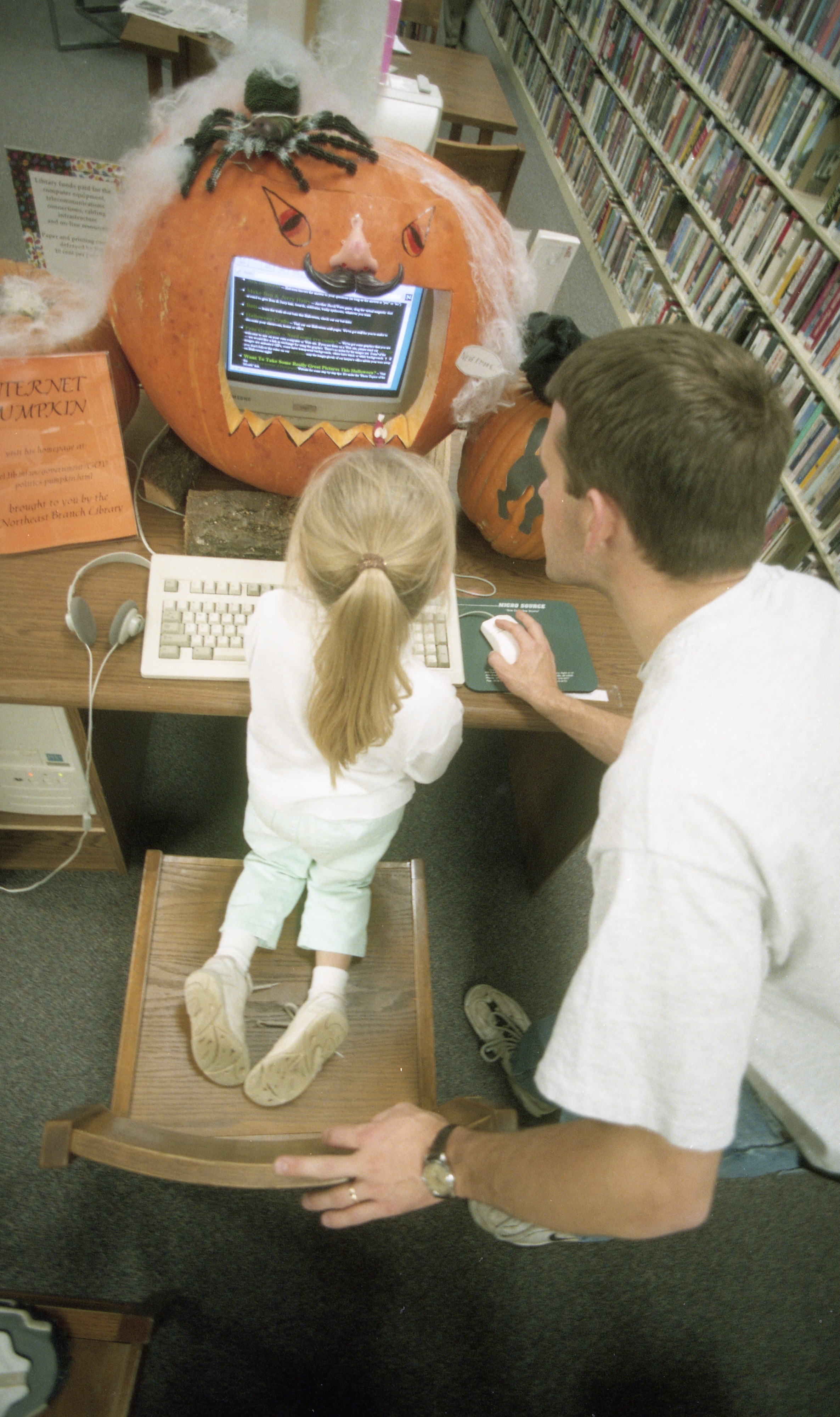 Dana Stein Uses The Great Internet Pumpkin At The Ann Arbor District Library, October 1997 image