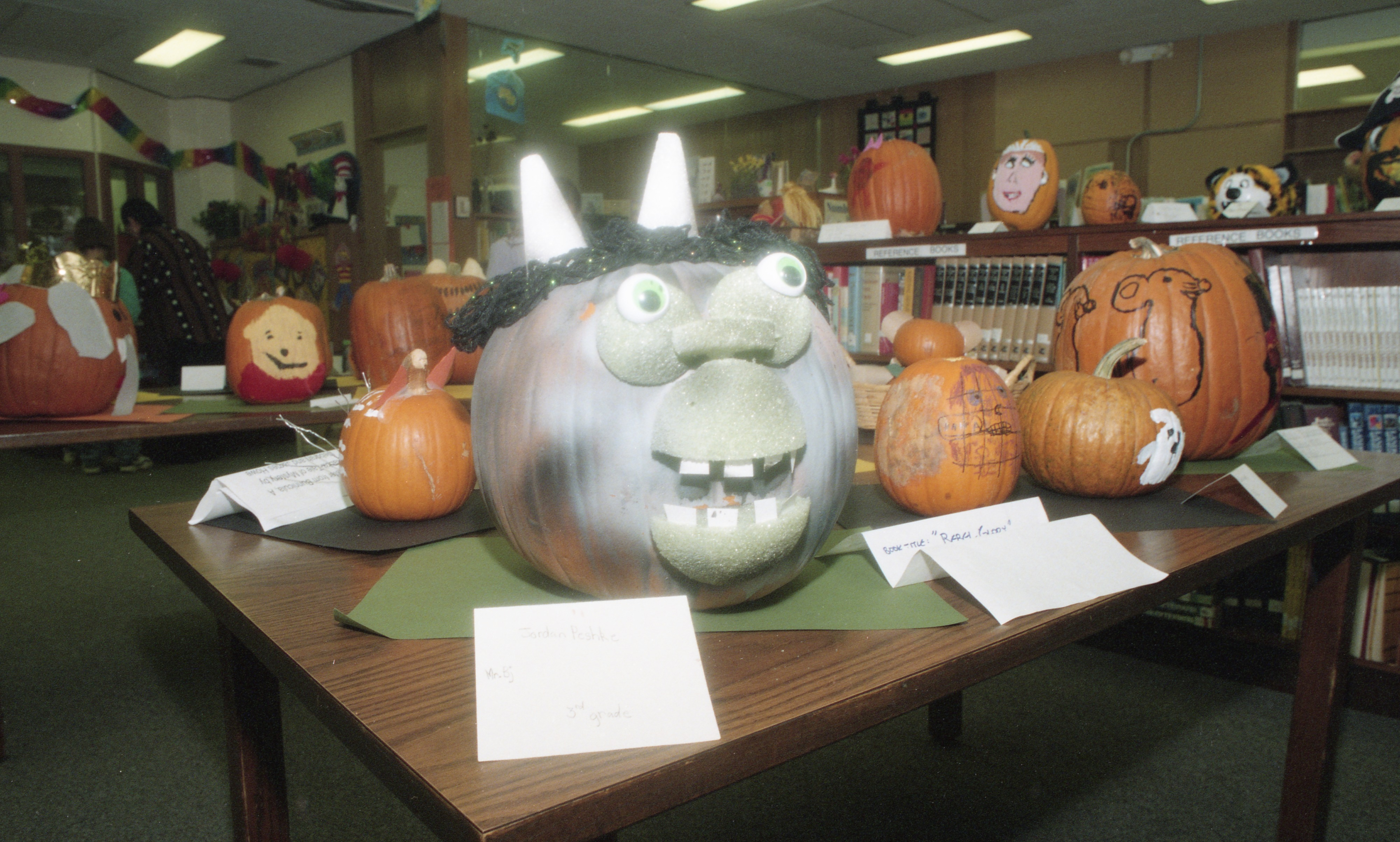Character Pumpkin Display At Wines Elementary School, October 1997 image