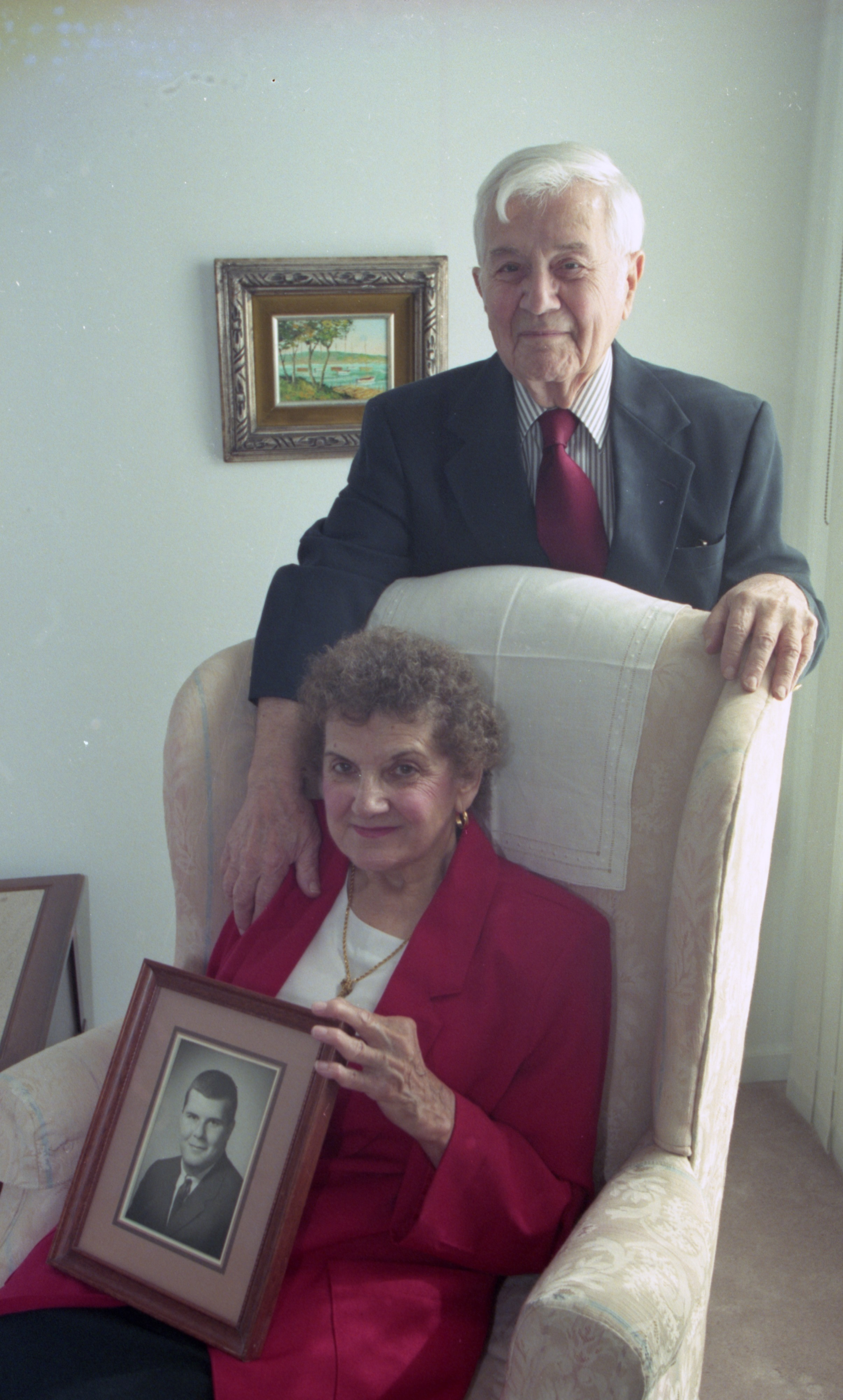 James & Helene Reader Display A Portrait Of Their Son, James Reader Jr., October 1997 image