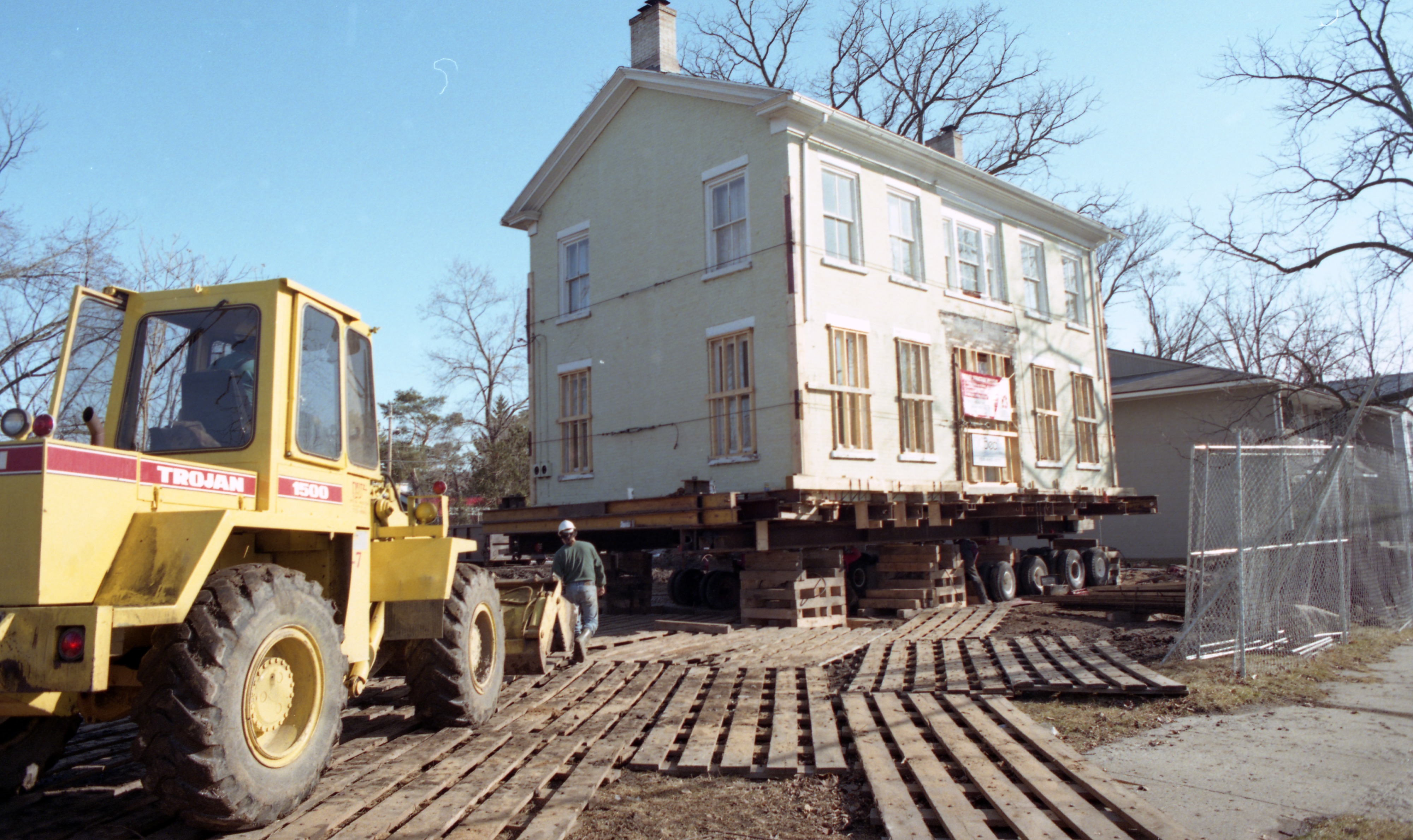 Workers Prepare The Nathan Burnham House For Its Move, February 1998 image