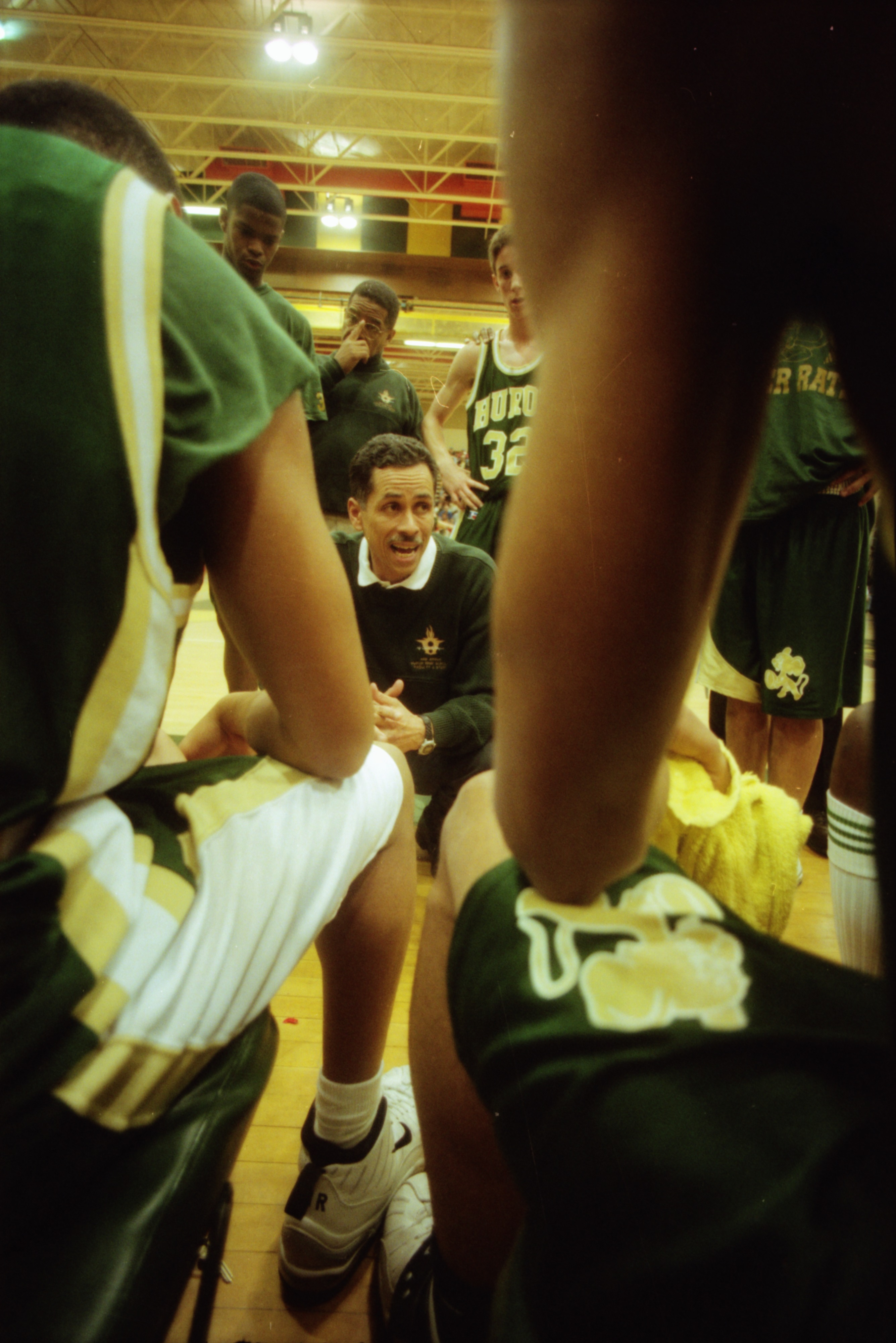 Huron Basketball Coach Harold Simons Gives a Pep Talk, March 1998 image