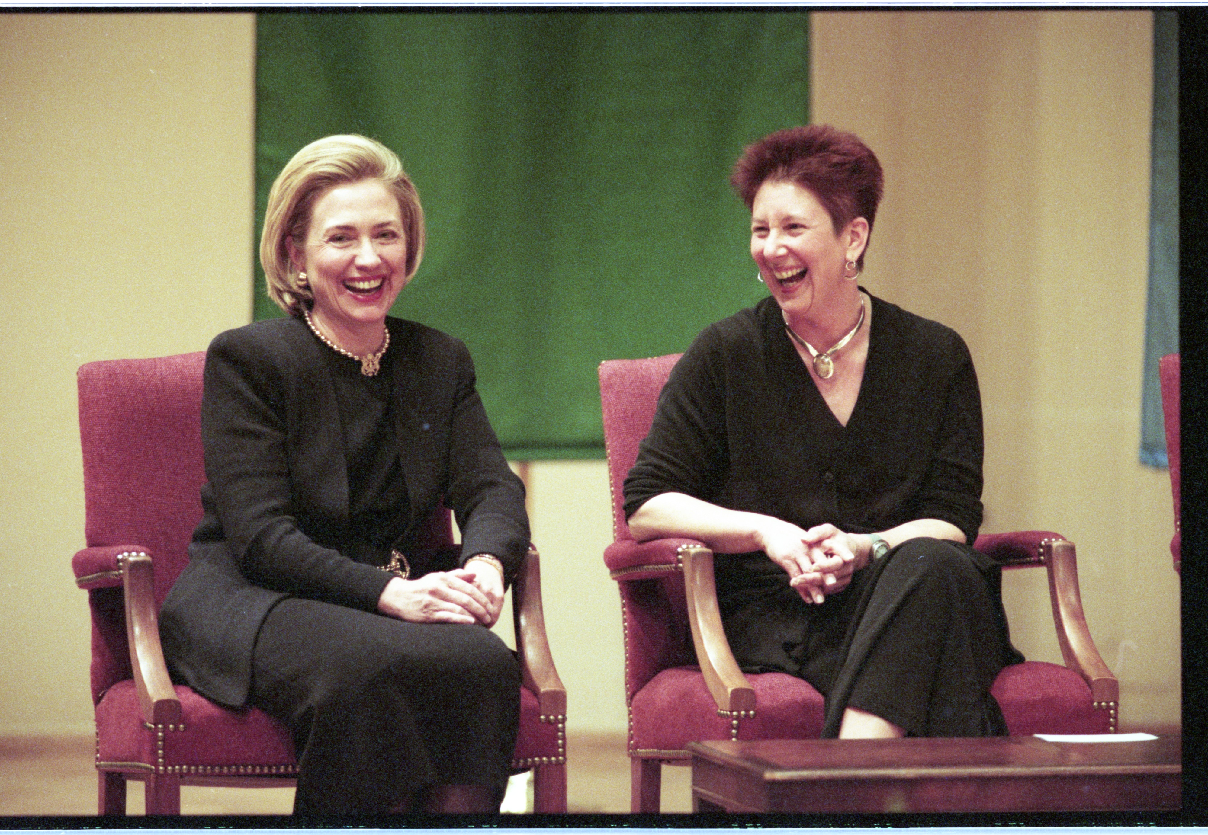 Julie Ellison, University of Michigan Associate Vice President For Research, & Hillary Clinton At Hill Auditorium, April 28, 1998 image