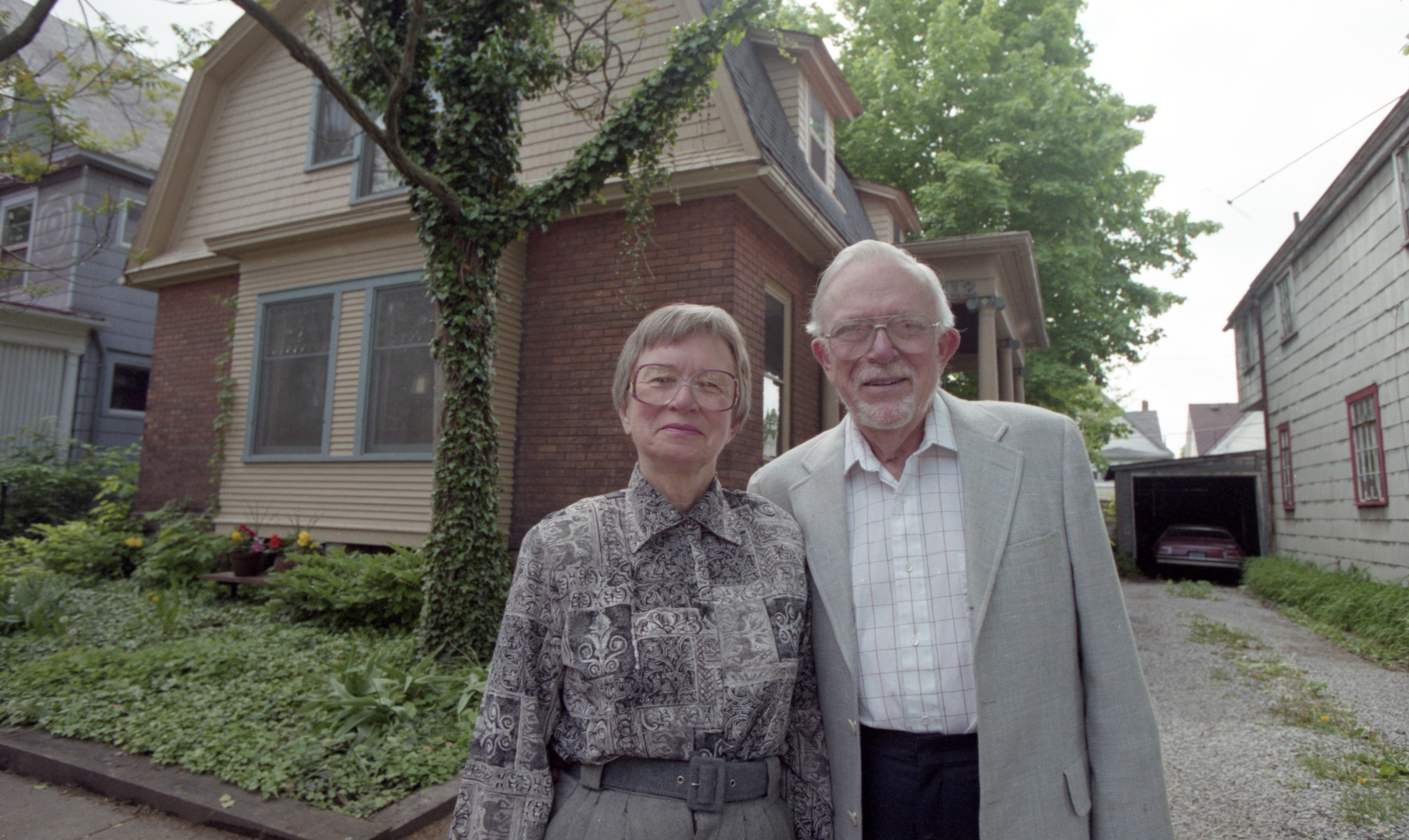 Rose & Gene Wilson In Front Of Their Home At 412 Hamilton Place, May 1998 image