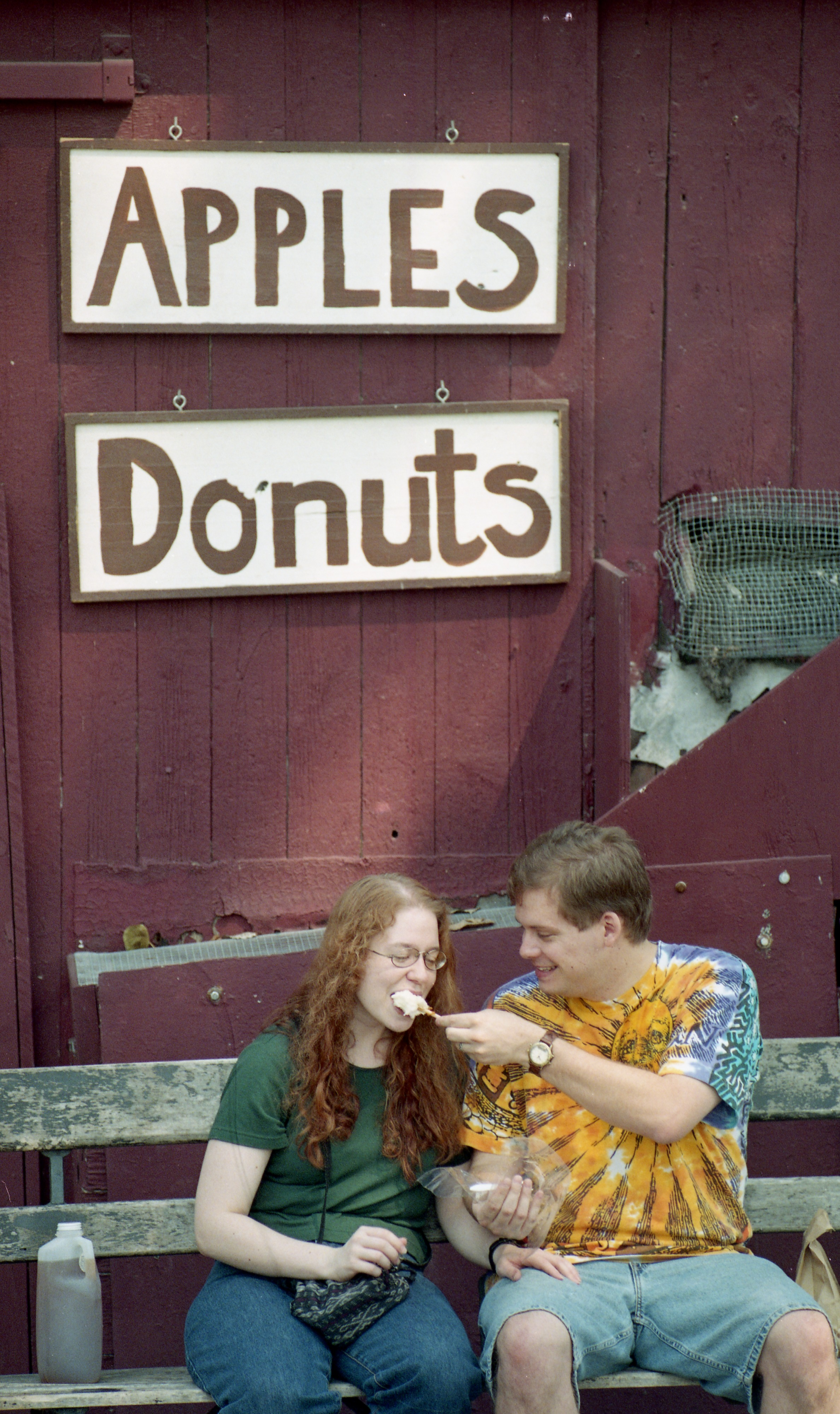 Alice Brown & Rob Russell Share A Caramel Apple At The Dexter Cider Mill, September 1998 image