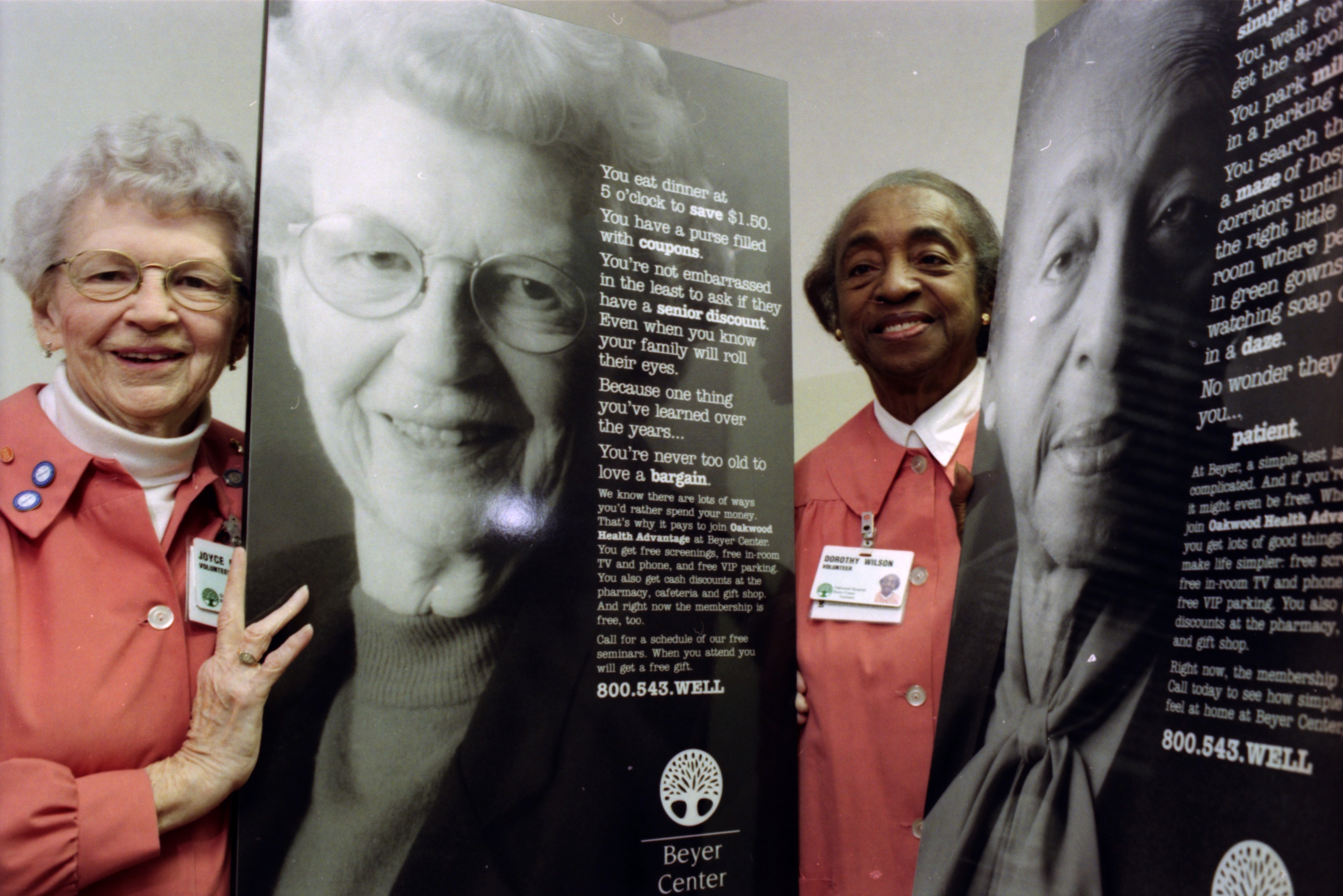 Ads for the Beyer Center Feature Volunteers Dorothy Wilson and Joyce Mallory, February 1999 image
