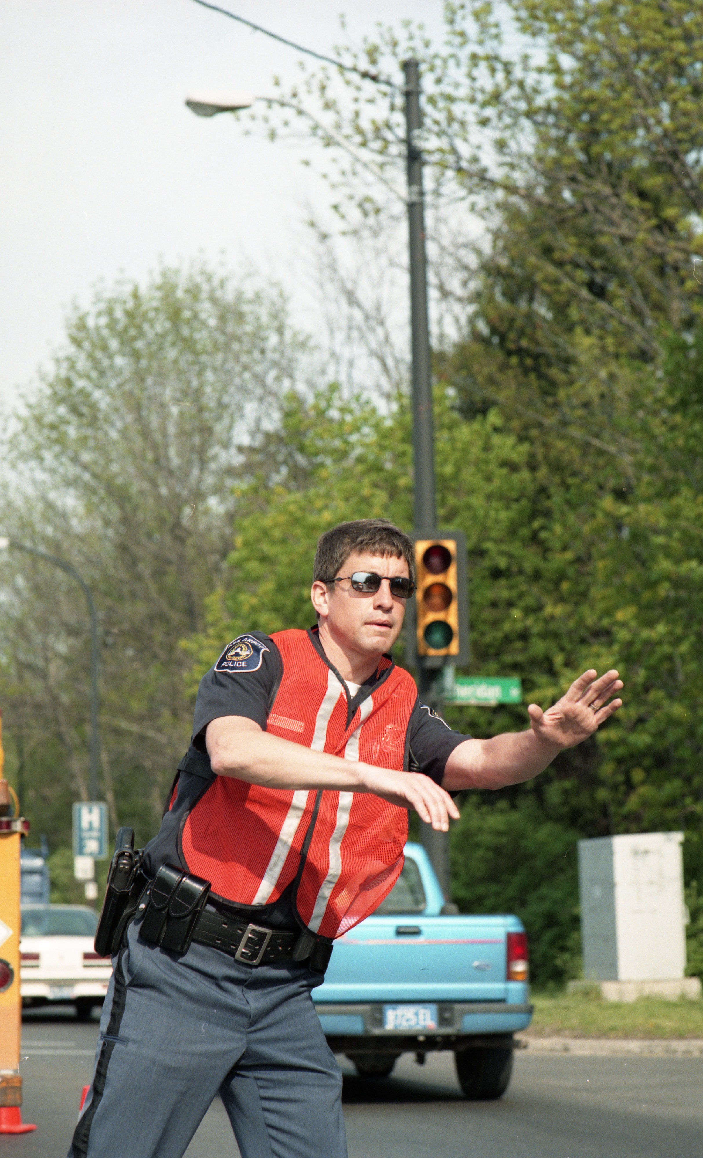 Ann Arbor Police Department Officer Peter Stipe on Traffic Control Duty, May 1999 image