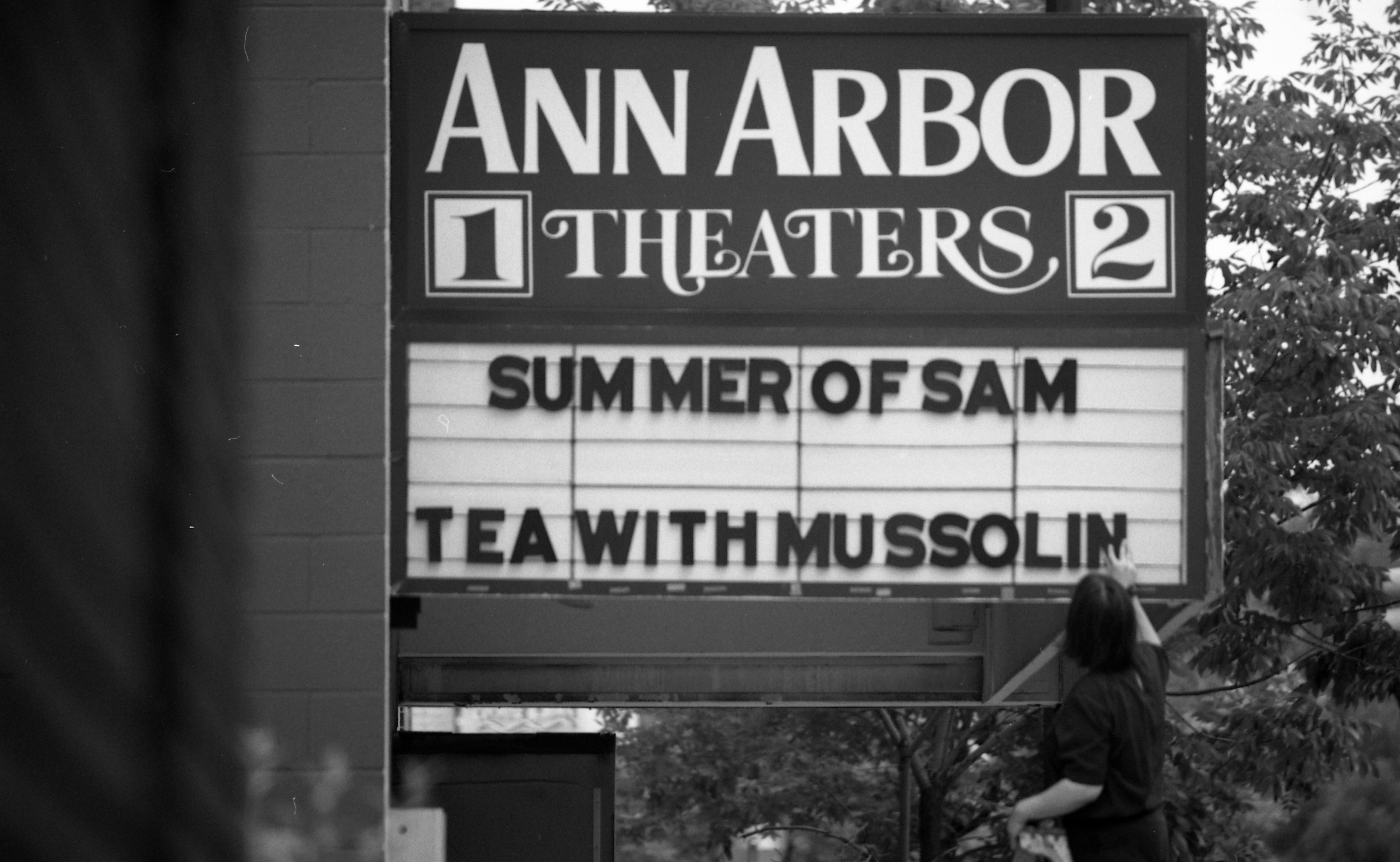 Ann Arbor Theaters 1 & 2, 210 S Fifth Ave, Manager Sue Heckenbrook, Changing Marquee, July 1999 image