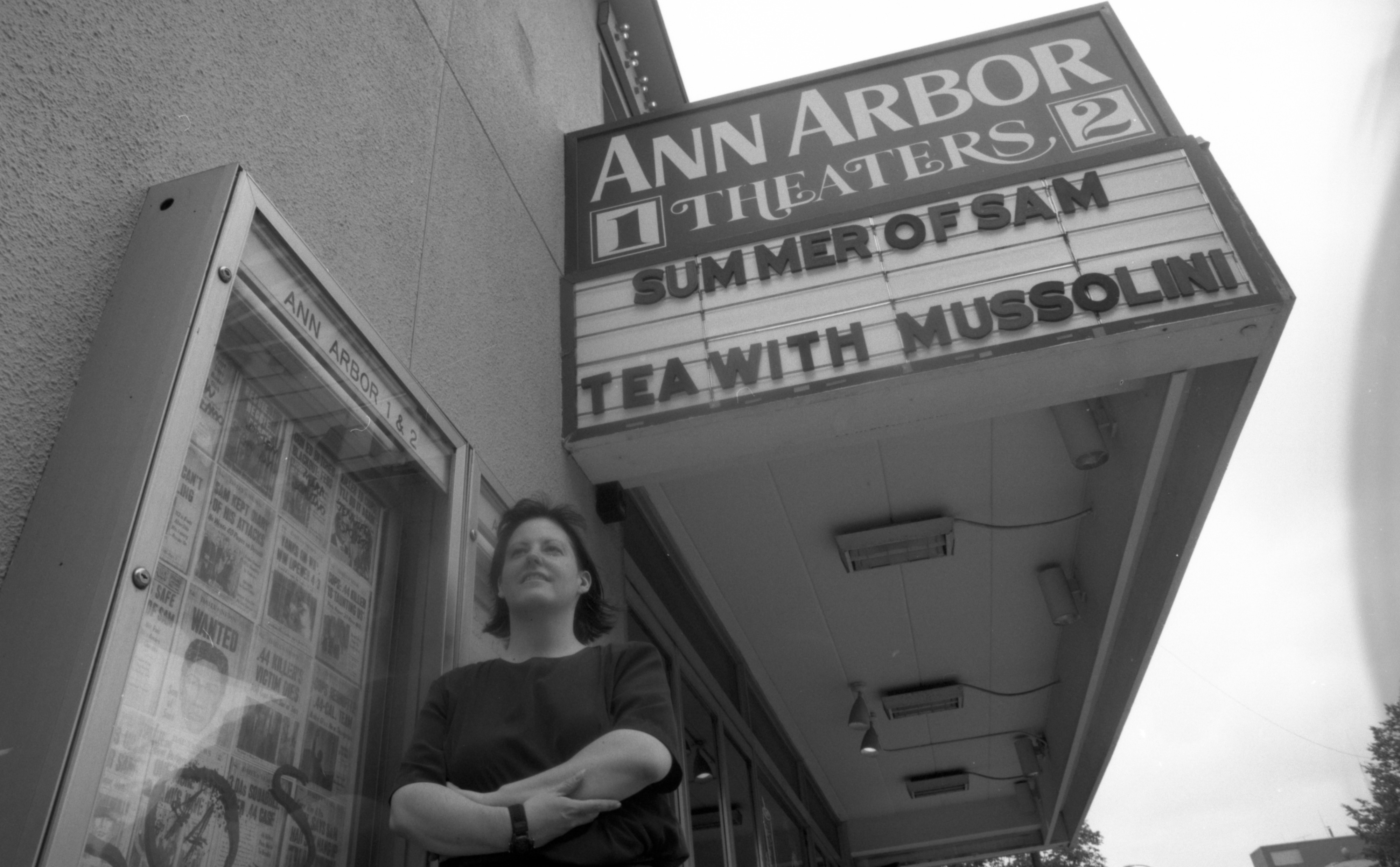 Ann Arbor Theaters 1 & 2, 210 S Fifth Ave, Manager Sue Heckenbrook, Standing In Front Of Marquee, July 1999 image