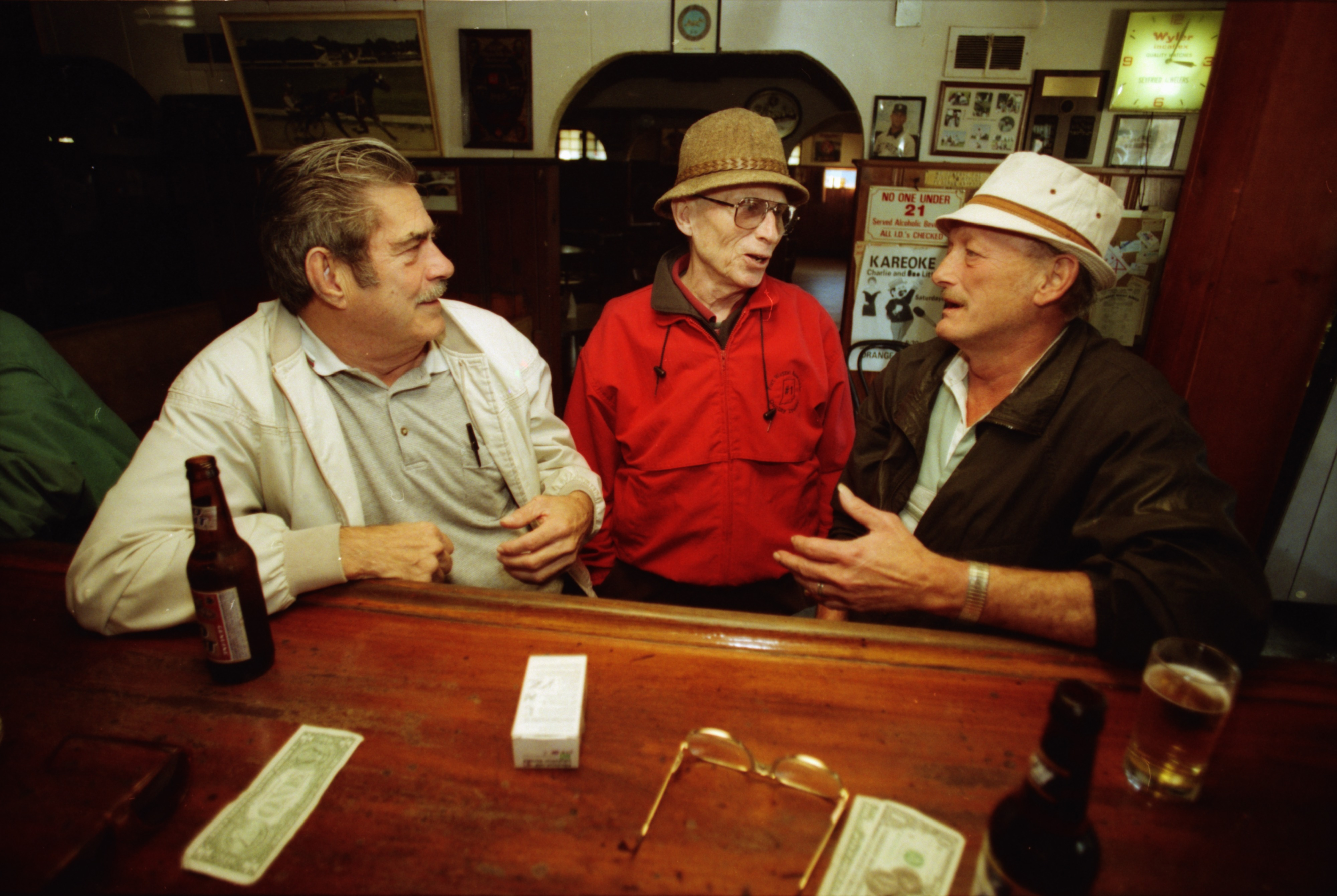 Bud Fahndrich and Two Regulars Chat at Ypsilanti's Orange Lantern Bar, October 1999 image
