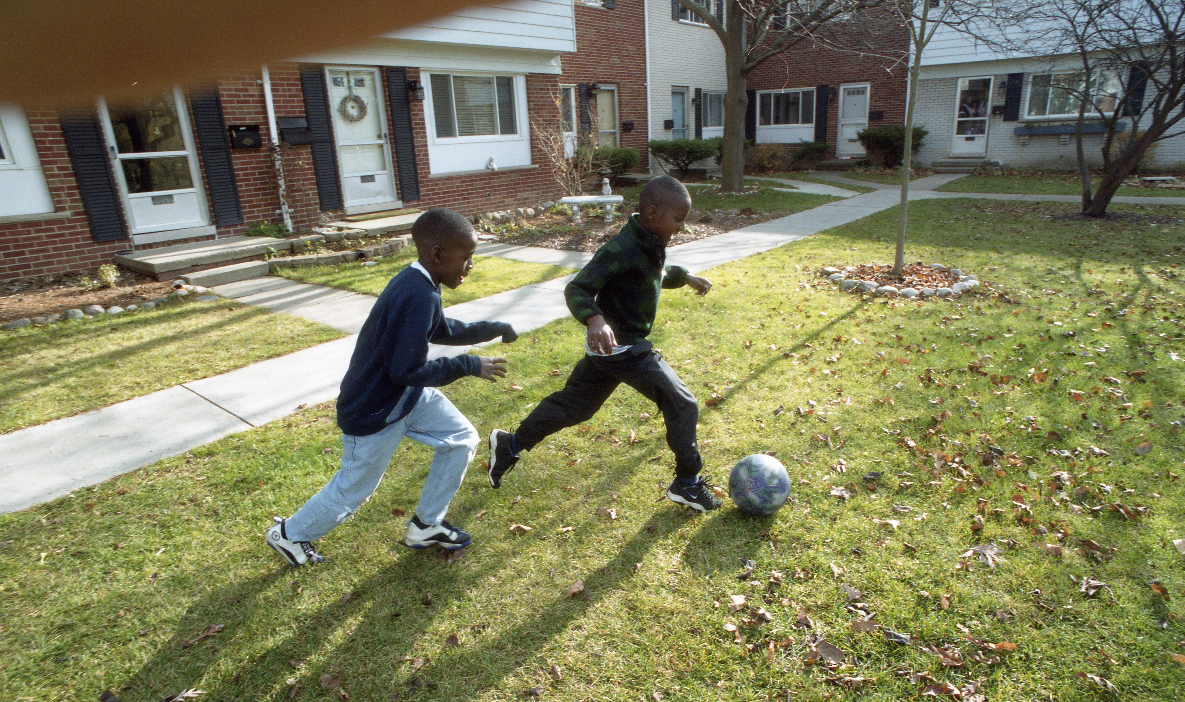Children Playing Soccer At Colonial Square, November 1999 image