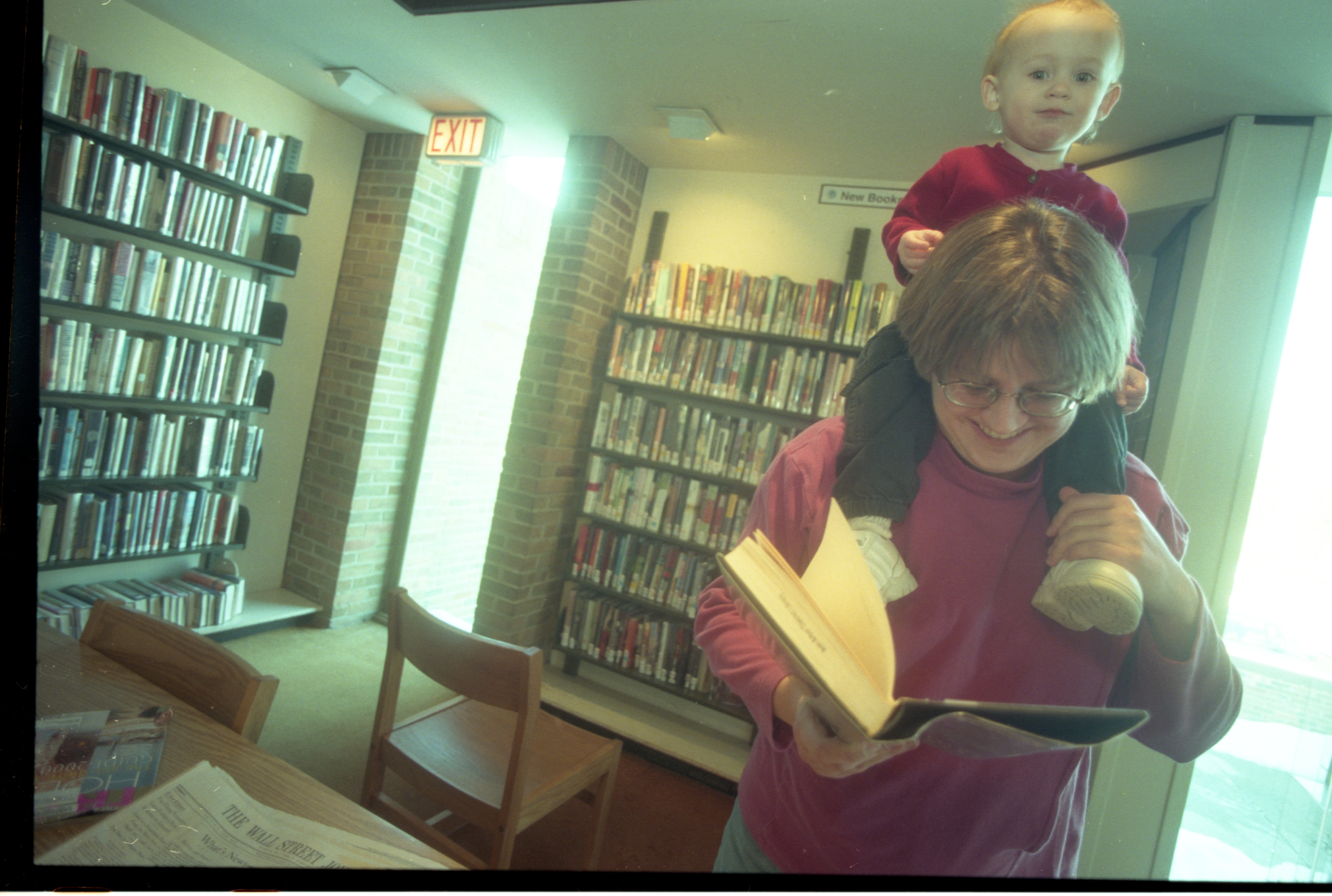 Mother & Daughter Visit The Ann Arbor District Library - Loving Branch, January 2000 image