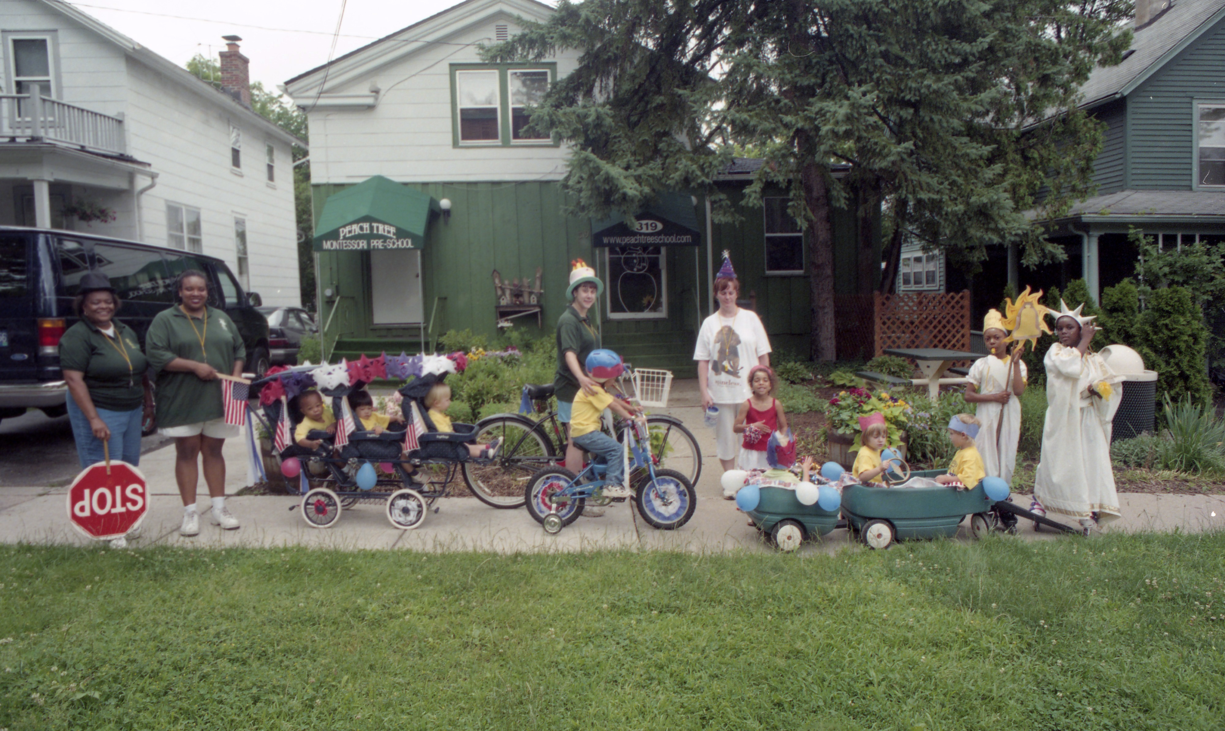 The Camp Peachy Pre-Independence Day Parade Begins In Front Of Peachtree Montessori School, July 2000 image
