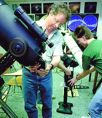Norbert Vance & Jeffrey Wilson Prepare Telescopes To View Eclipse At EMU, May 10, 1994 image