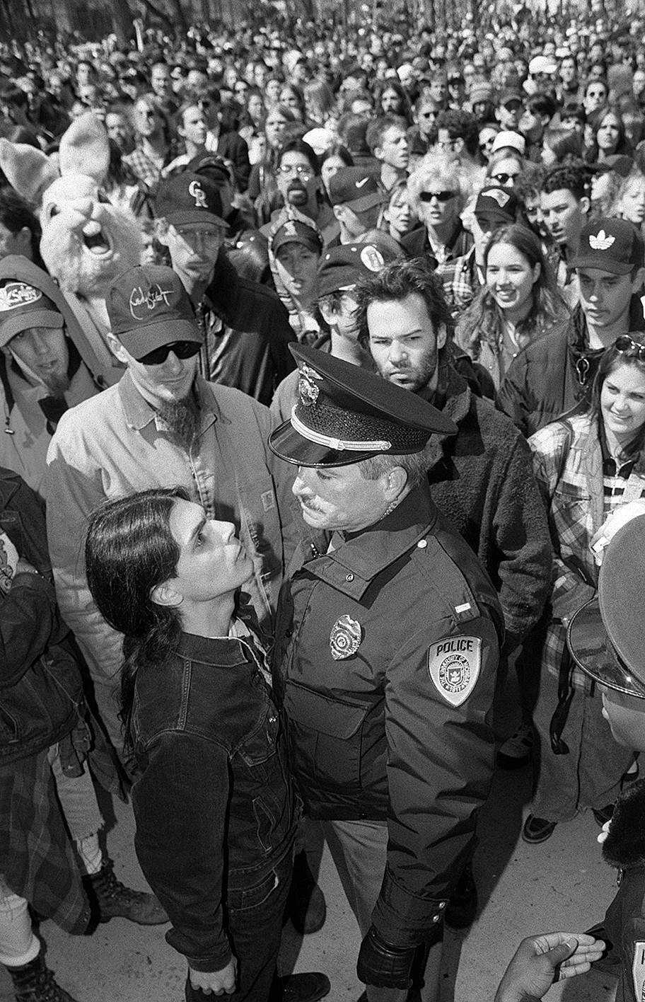 Hash Bash Rally Member Argues With Police Over Use Of Sound Equipment, April 7, 1996 image