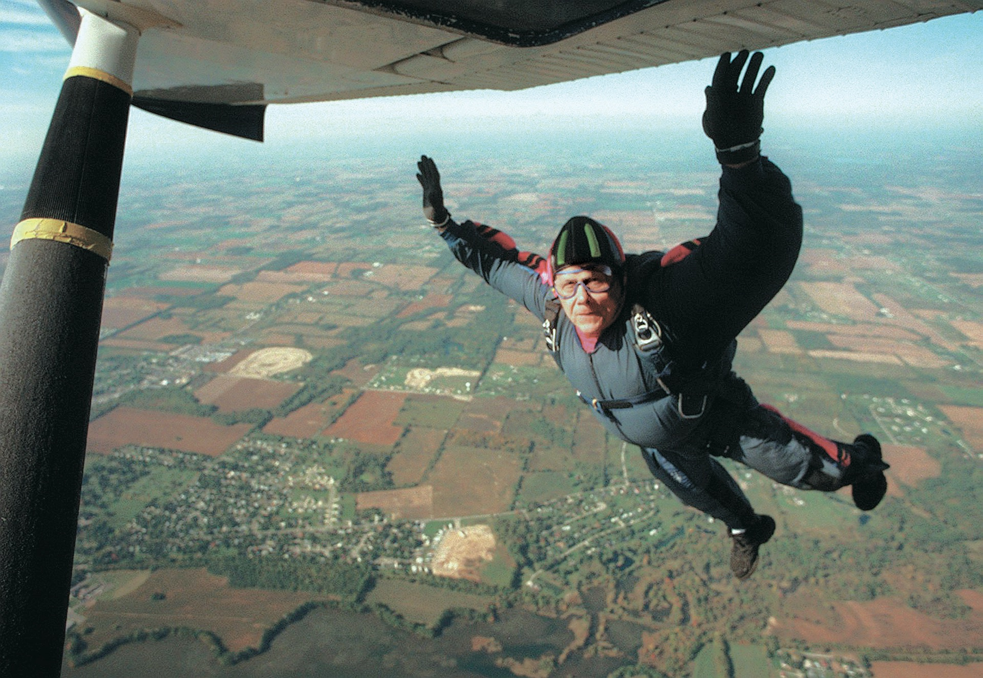 Brownlee skydiving over Tecumseh, October 1996 image