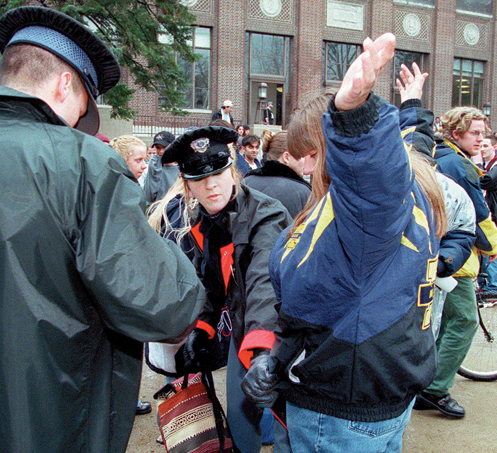 U-M Public Safety Pat Down Hash Bash Participant, April 6, 1997 image