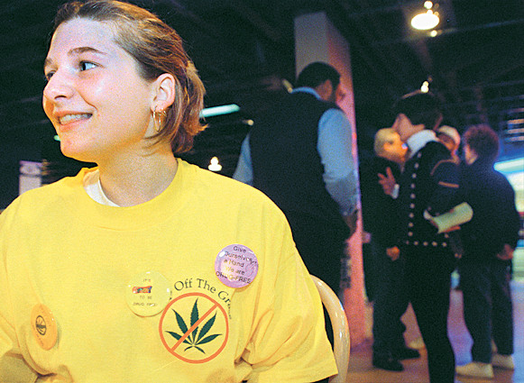 Abbey Gavrila, Pioneer High Schooler, Holds Alternative Event At The Michigan League During Hash Bash, April 5, 1998 image