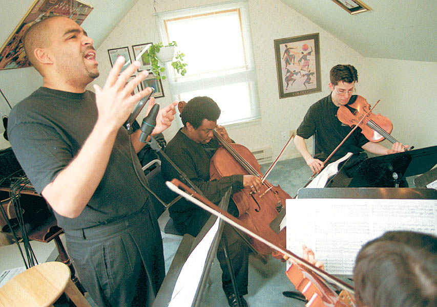 Aaron Dworkin With Musicians Practicing For The Sphinx Competition, February 24, 2000 image