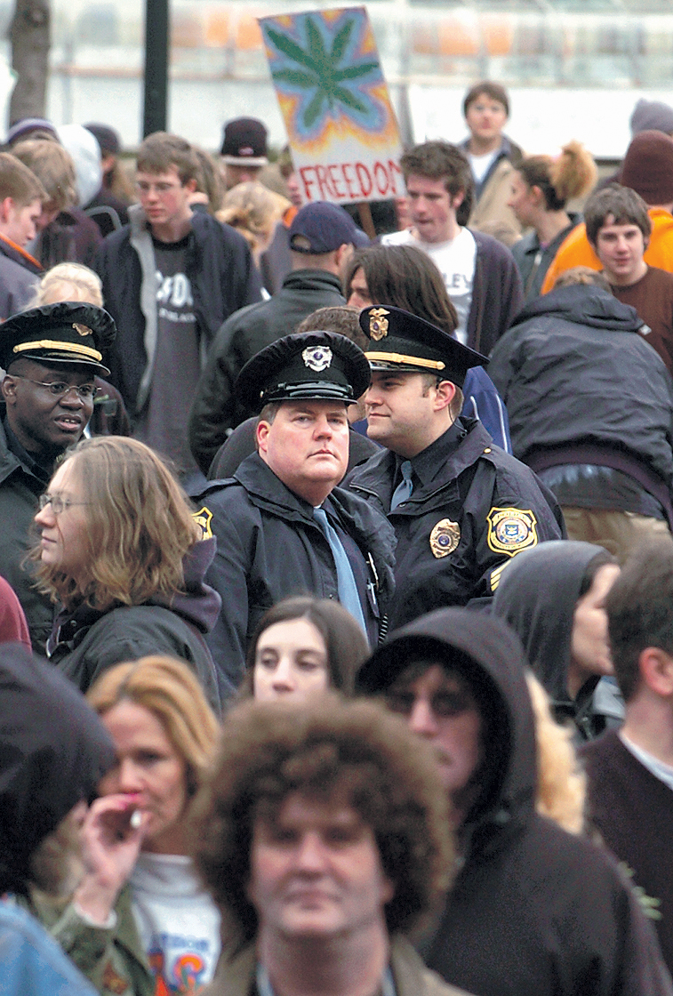 Police Watch The Crowd At The Annual Hash Bash, April 3, 2005 image