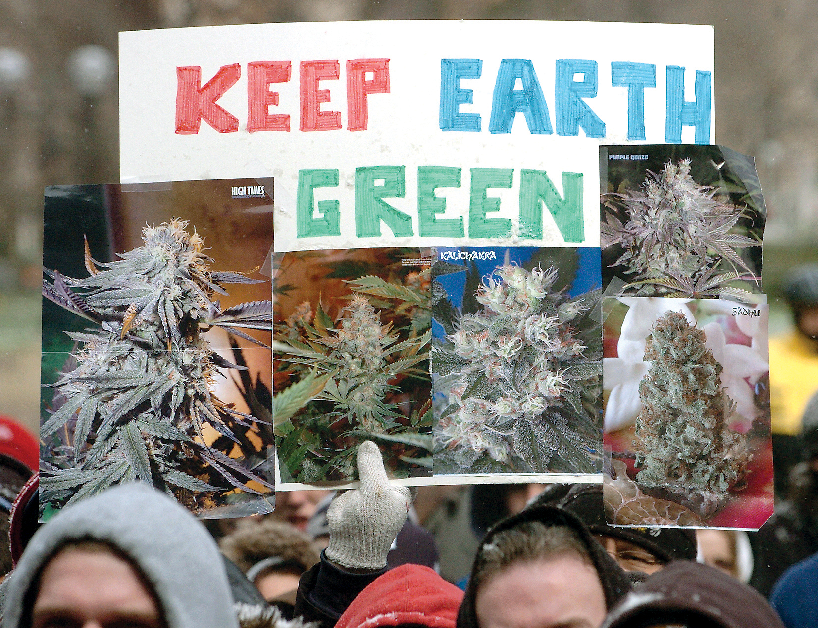 Hash Bash Participant Holds Up Sign, April 8, 2007 image