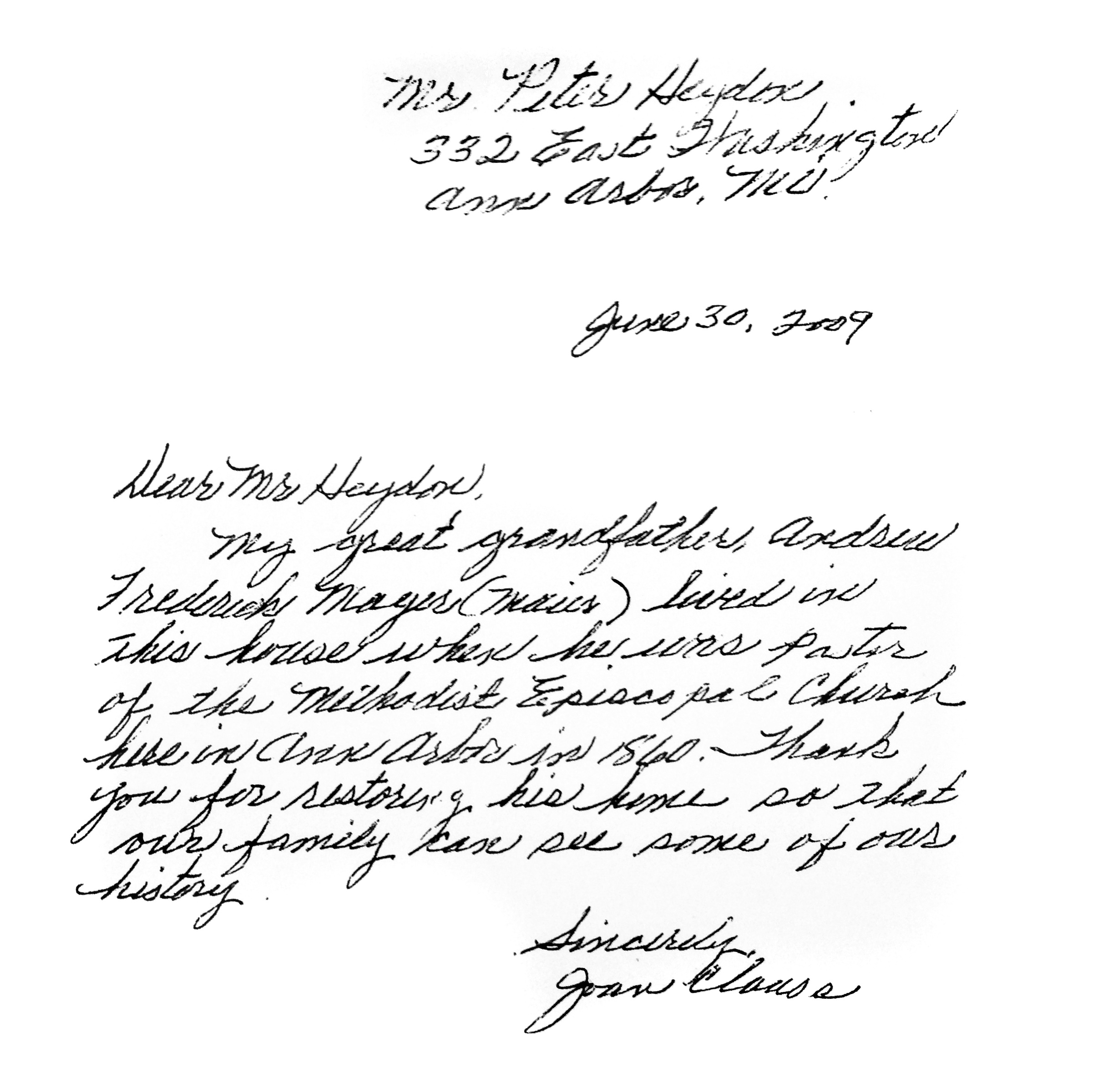 Thank you letter, 2009 image