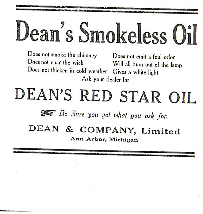 Dean's Smokeless Oil advertisement image