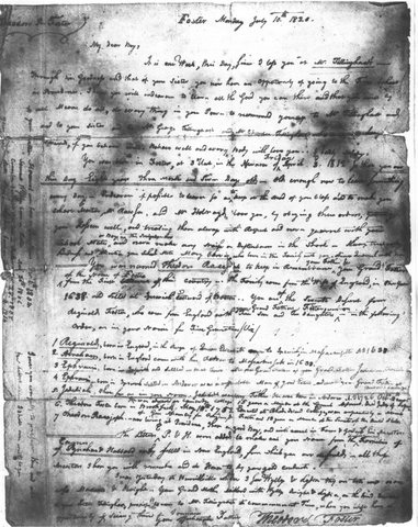Letter from Thodore Foster, July 10, 1820 image