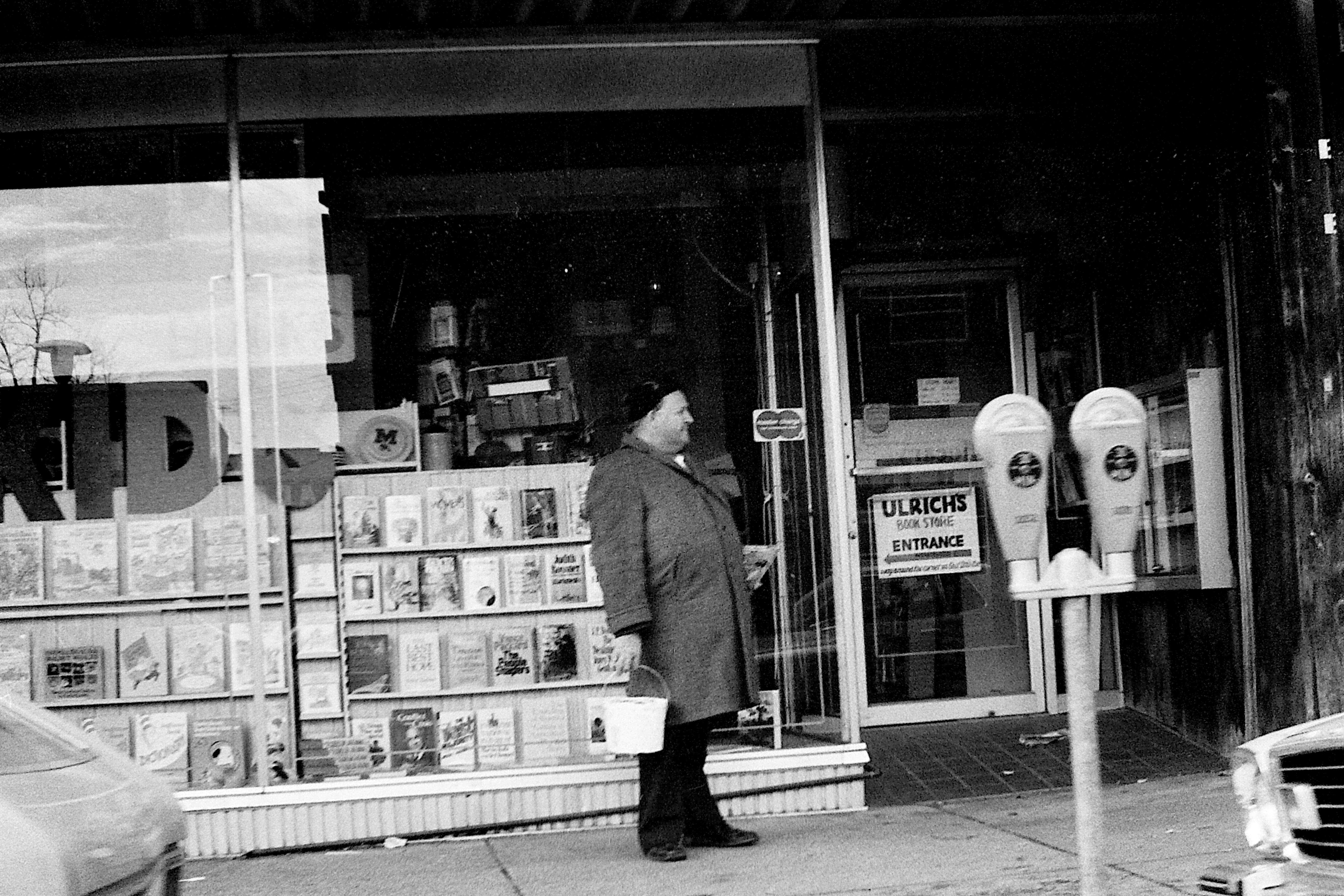 Customer Standing Outside Ulrich's Bookstore, 1977 image
