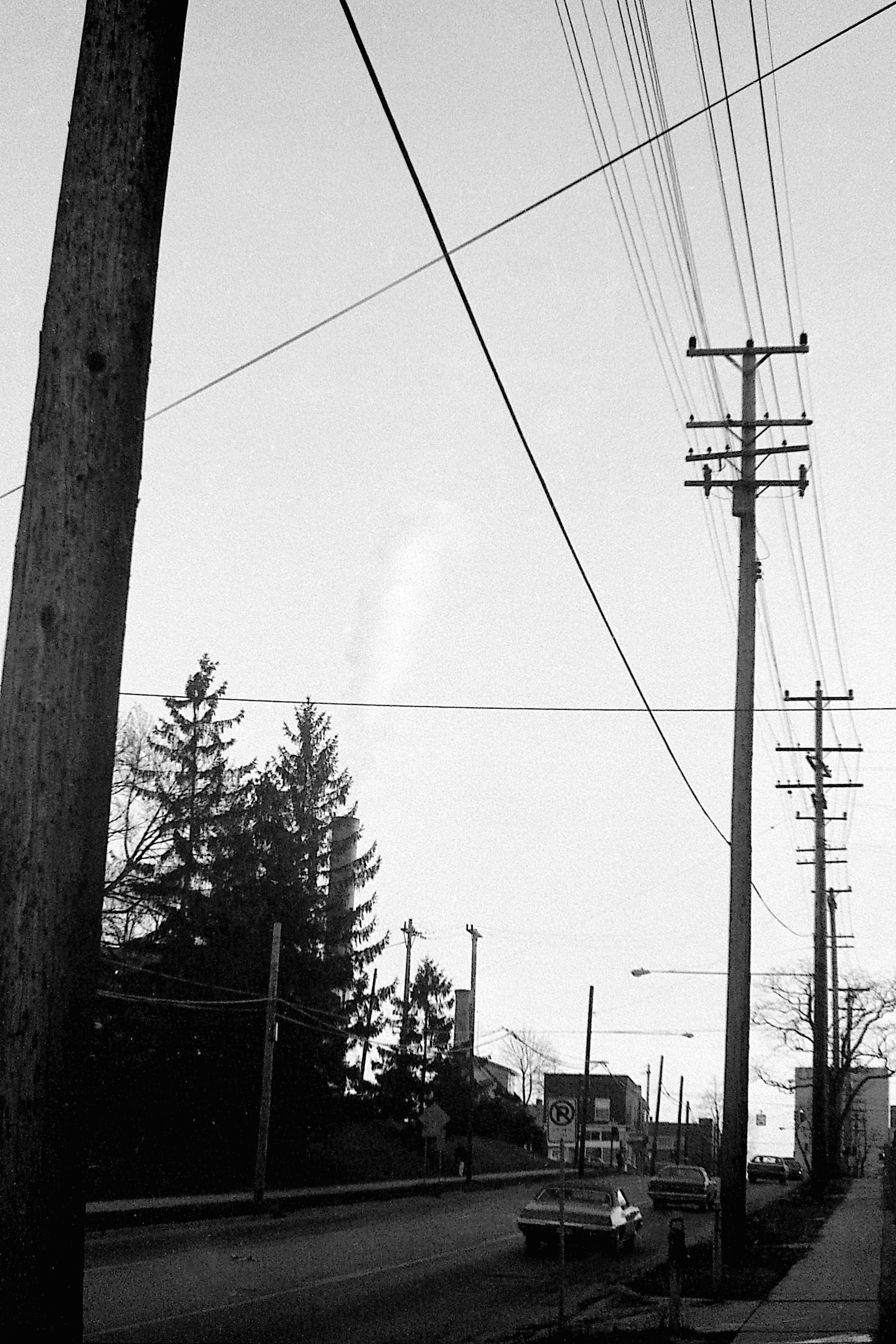 Power Stacks from Glen Ave, Looking South, with Angelo's Restaurant, 1978 image