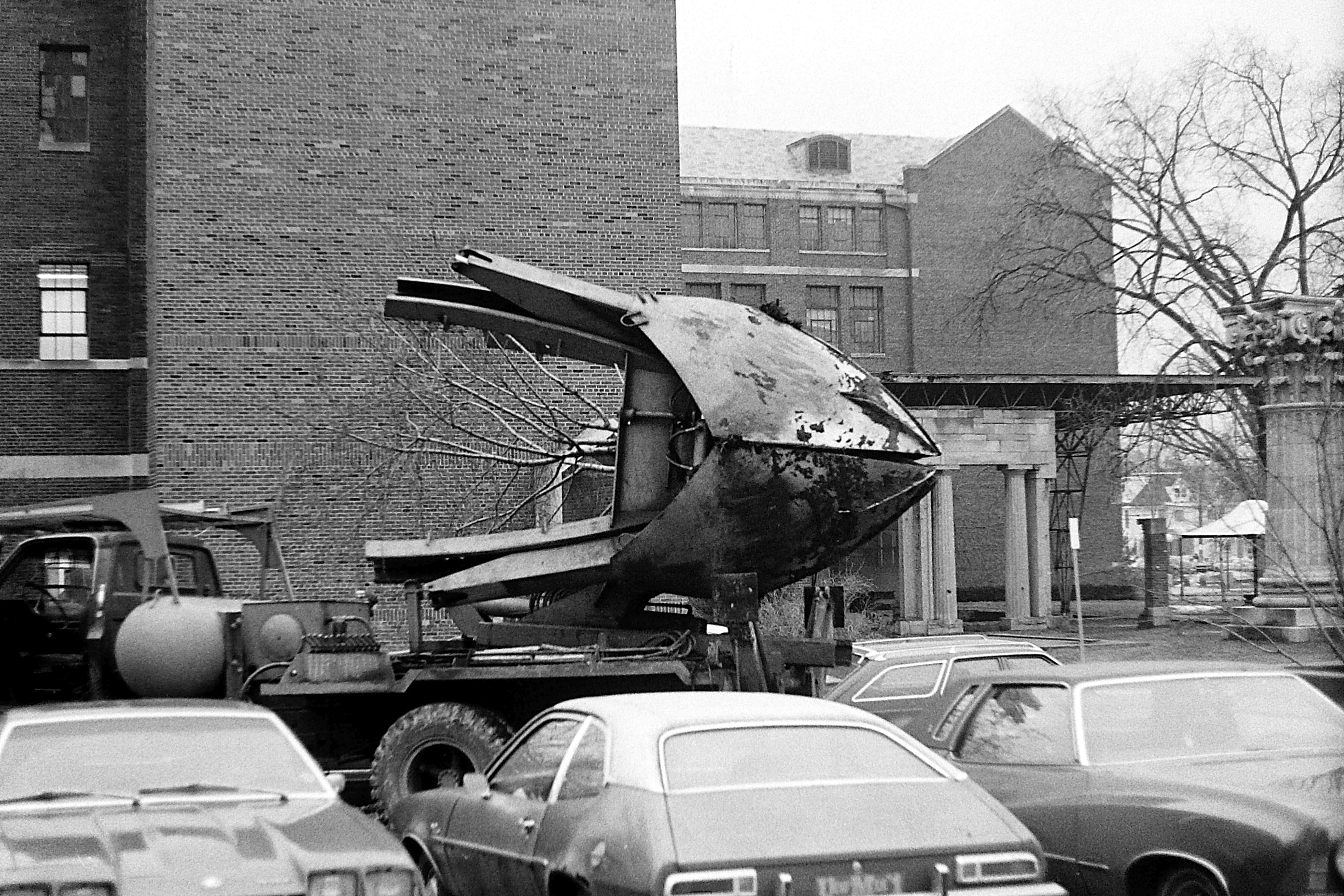 Tree Extractor at U-M Law Library Construction Site, 1978 image