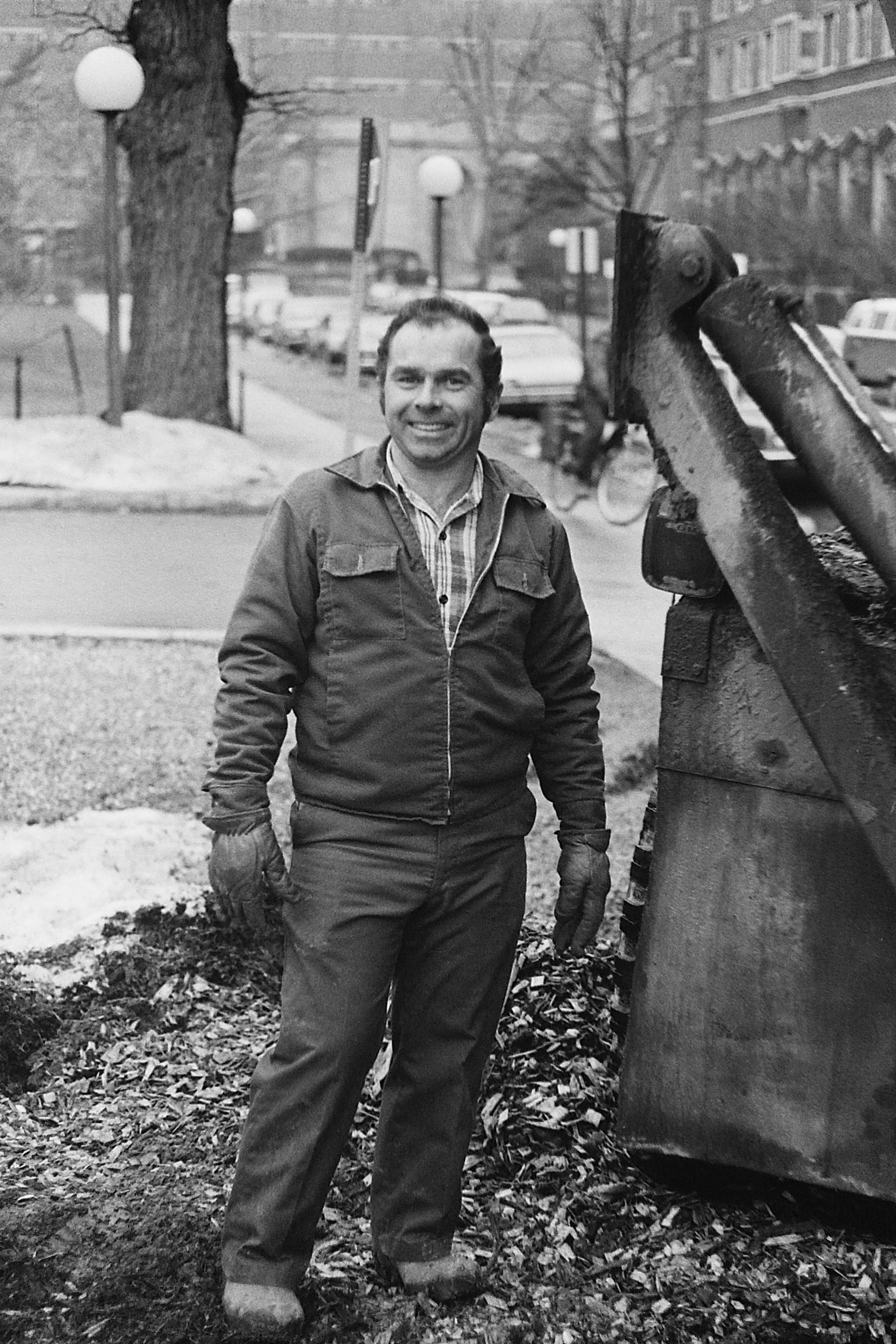 Tree Extractor Worker at U-M Law Library Construction Site, 1978 image