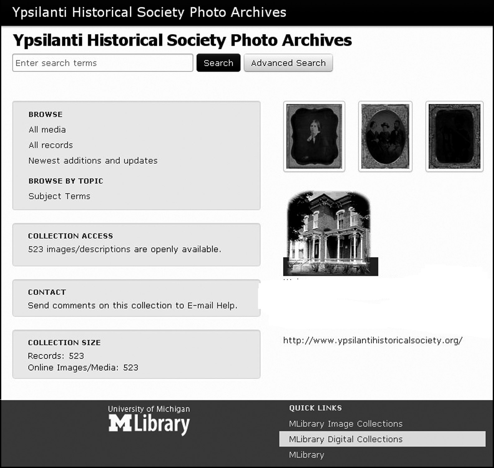 The University of Michigan Library Digital Collection Site image