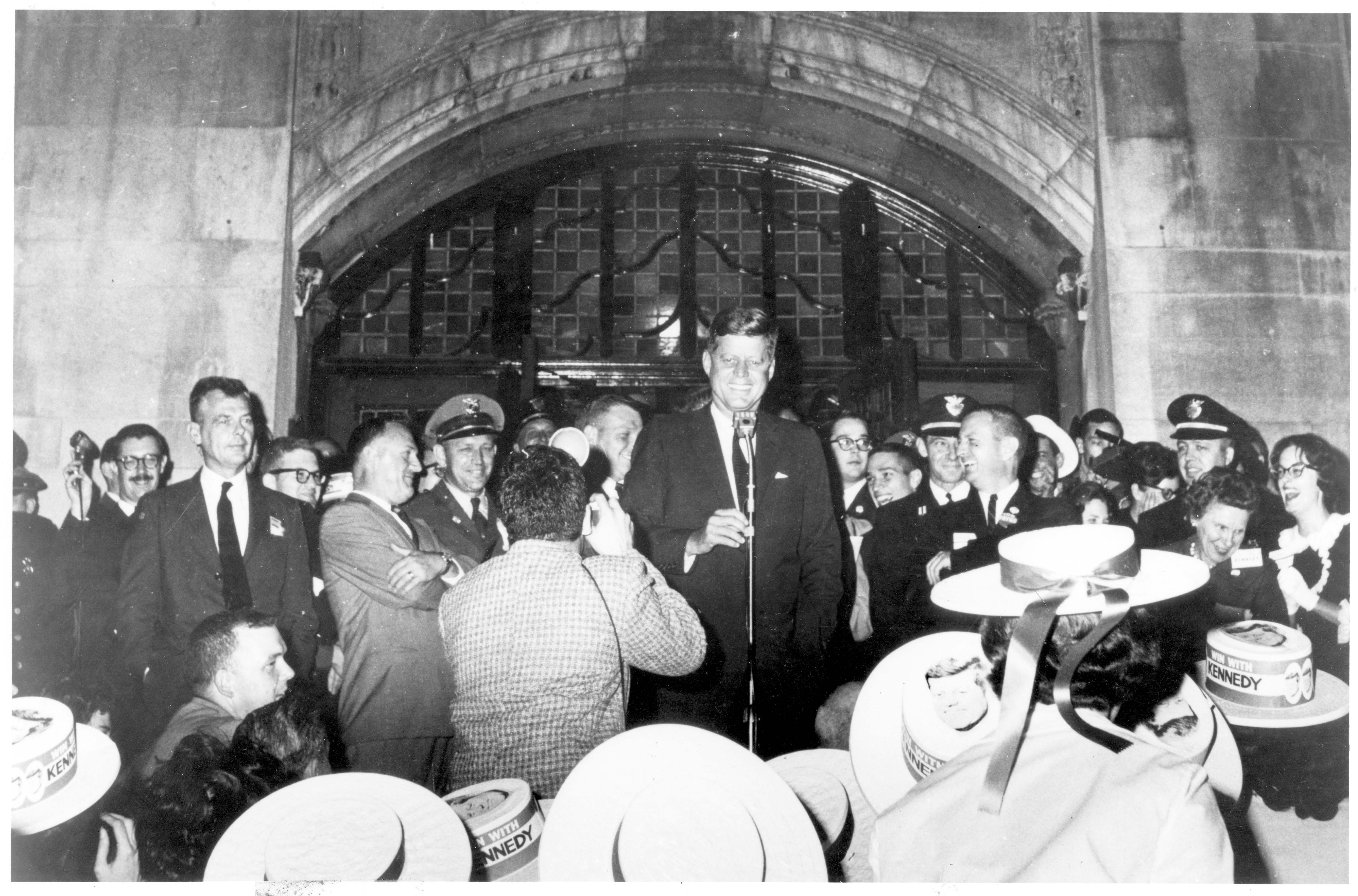 Presidential Candidate John F. Kennedy on the steps of the University of Michigan Student Union, October 1960 image