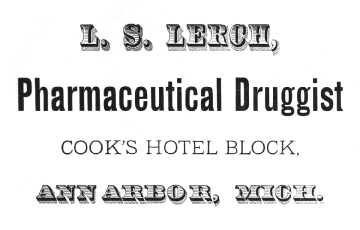 Advertisement for L. S. Lerch, Pharmaceutical Druggist image