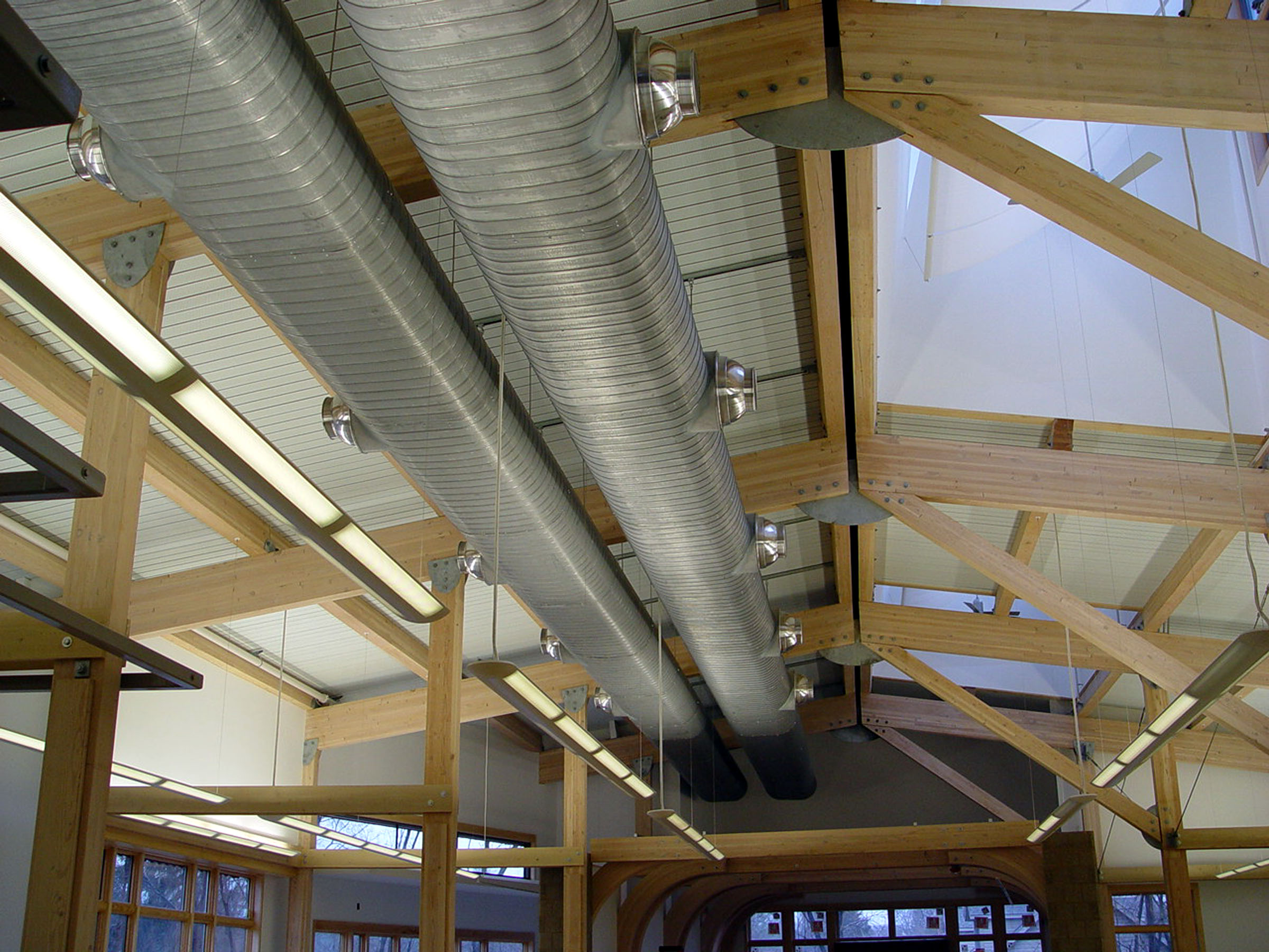 Malletts Creek Branch, sustainability, construction: Vents and beams, 2003 image