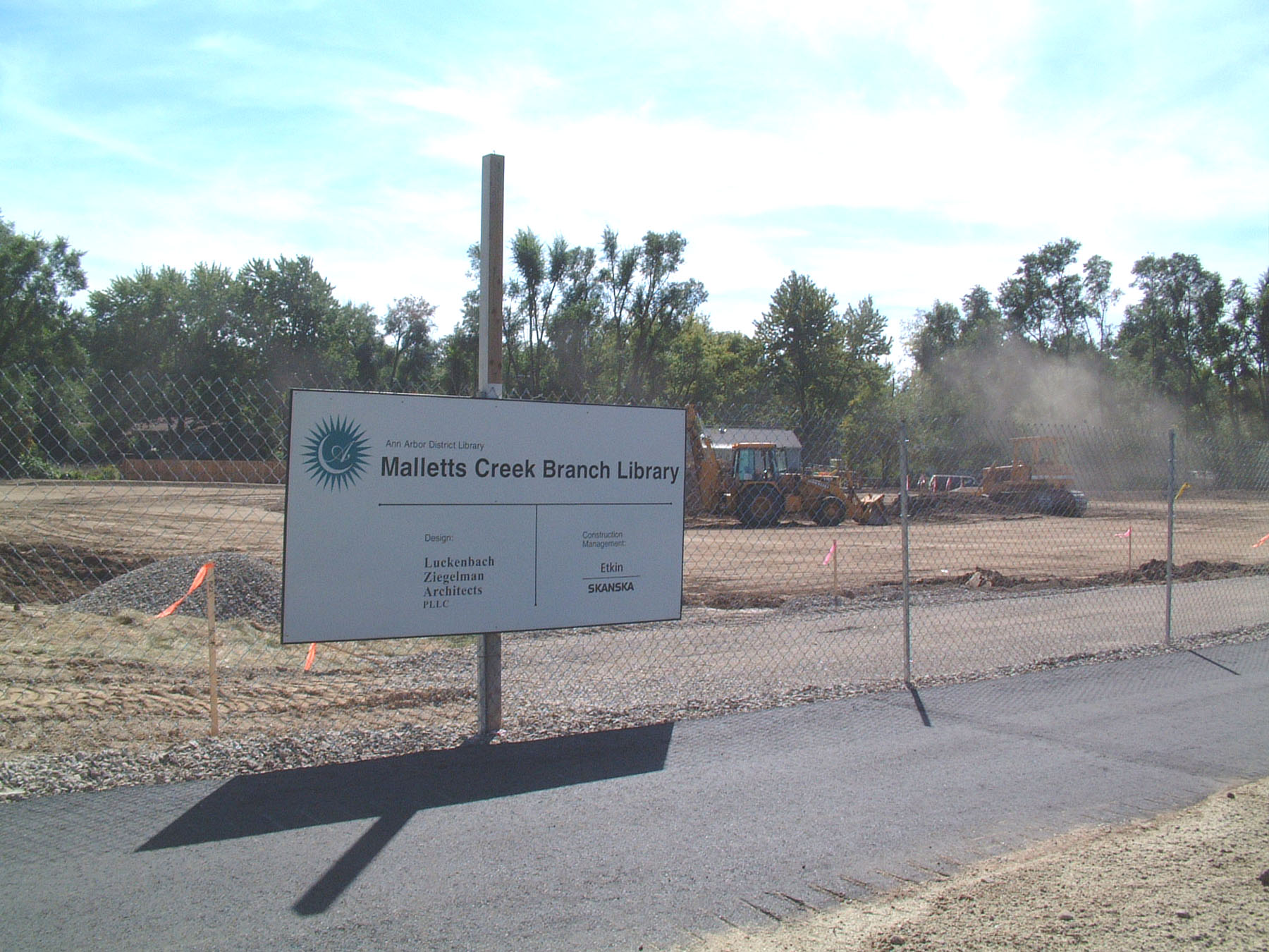 Malletts Creek Branch, ground breaking, construction site sign, 2002 image