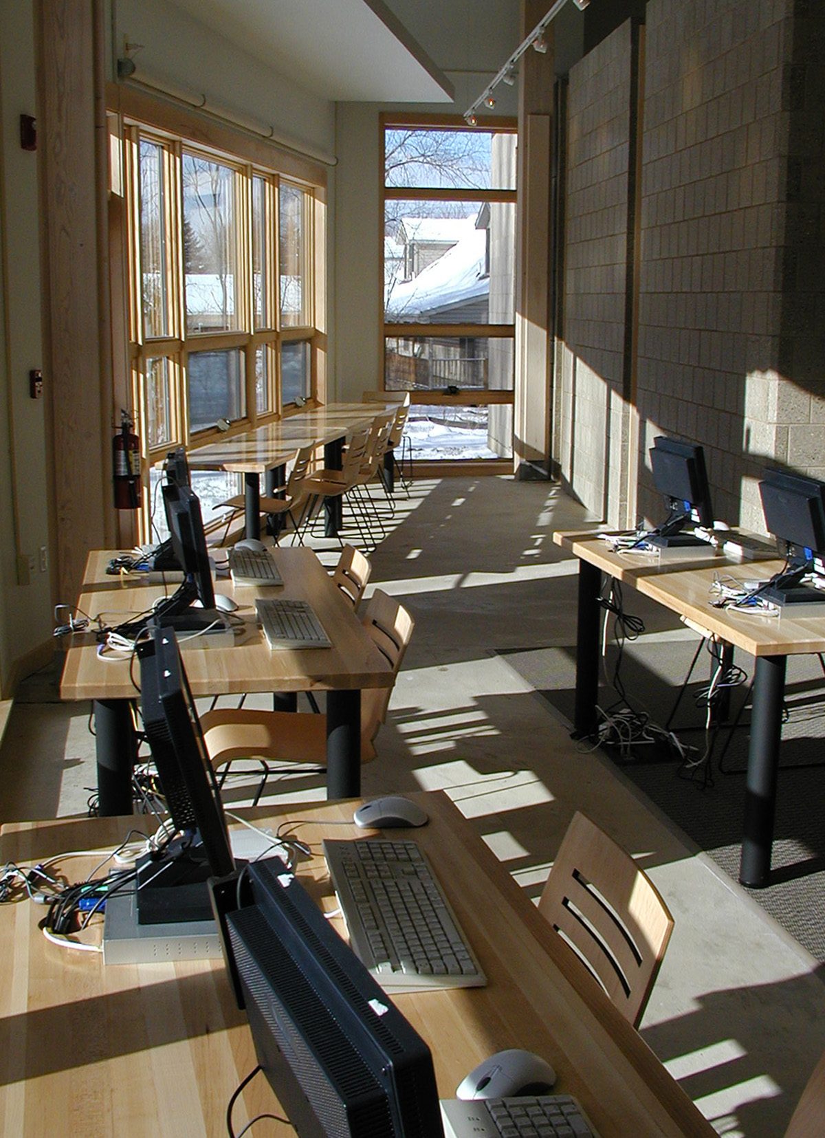 Malletts Creek Branch: South windows, interior, 2003 image