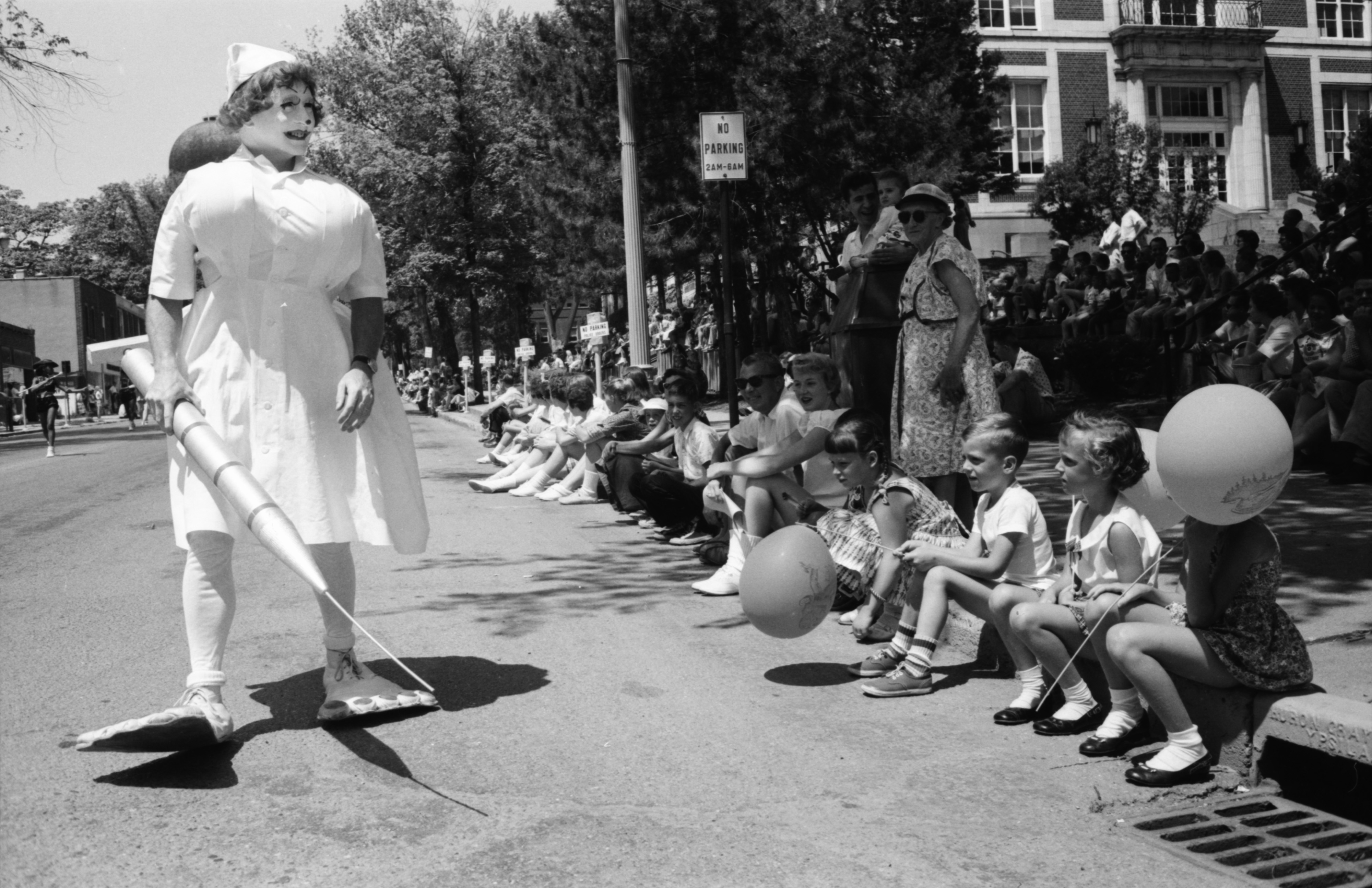Robert K. Fashbaugh In Clown Nurse Costume For The Ypsilanti Fourth Of July Parade, July 1959 image