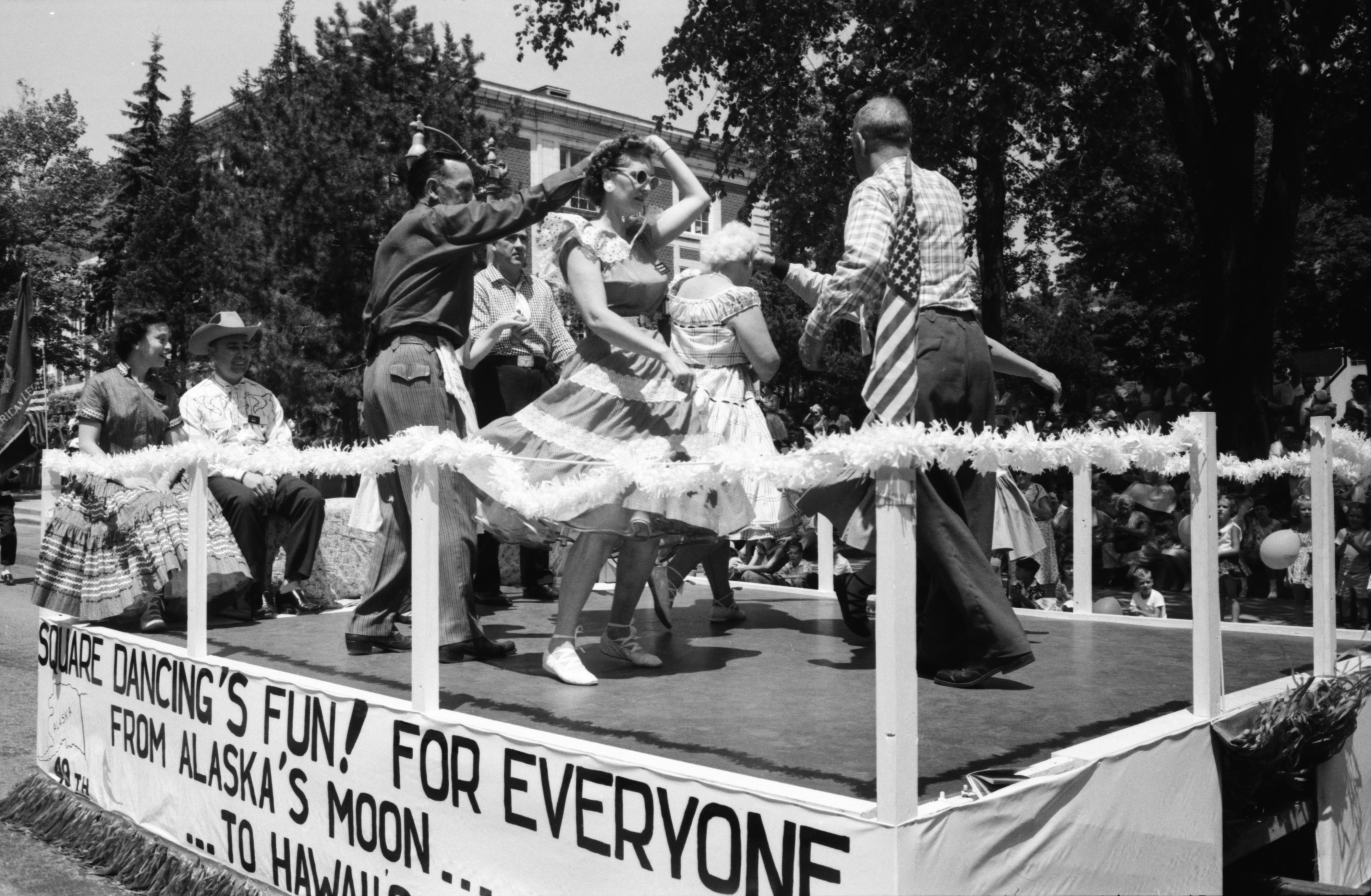 Square Dancers On Float In The Ypsilanti Fourth Of July Parade, July 1959 image