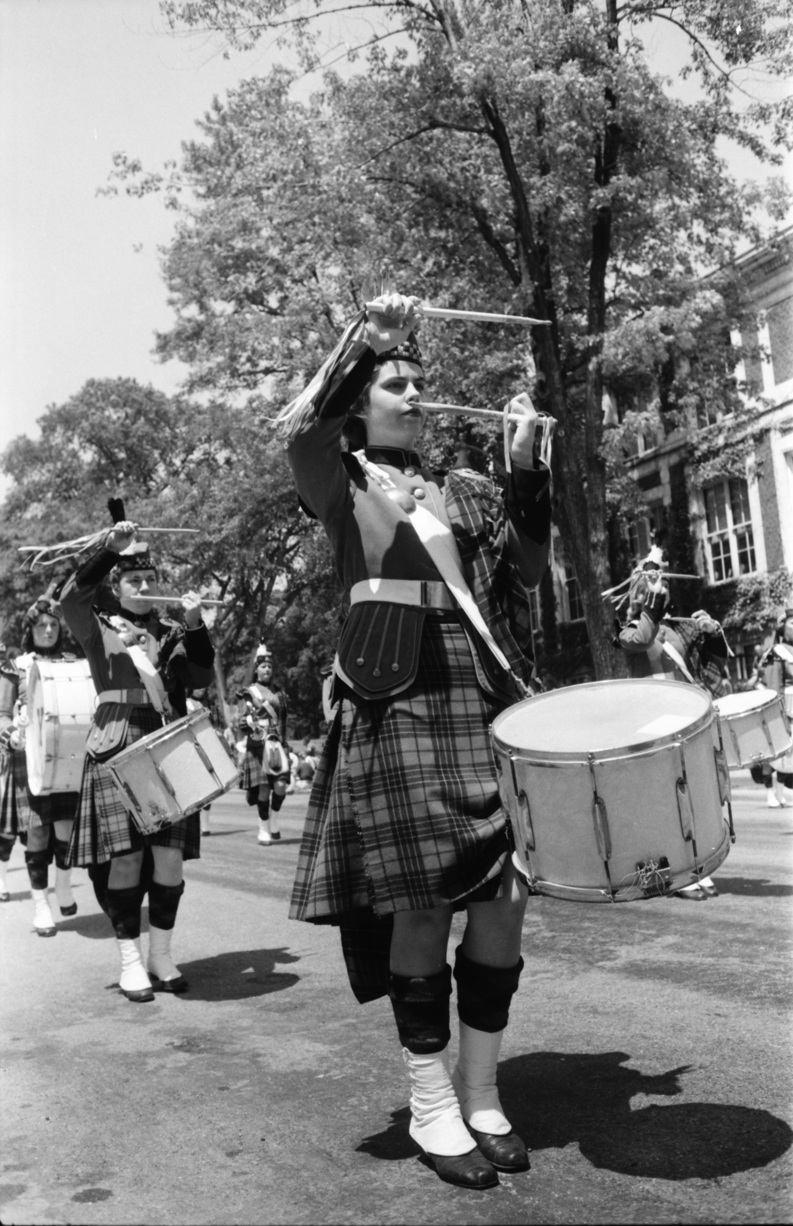Ypsilanti High School's Girls Drum & Bugle Corps March In The Ypsilanti Fourth Of July Parade, July 1959 image