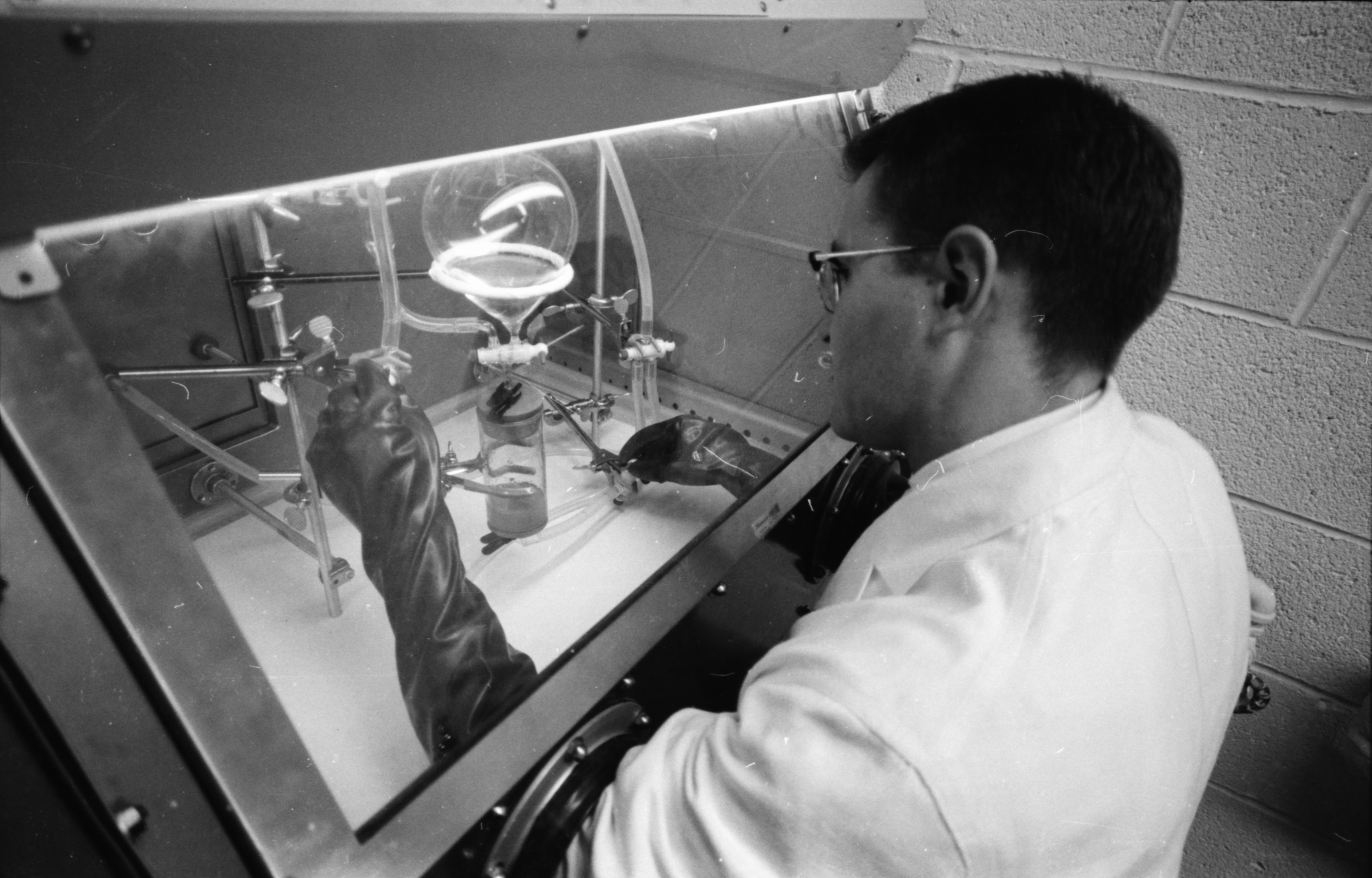 Dr. John Marshall, U-M research associate, at the Phoenix Memorial Laboratory, August 1961 image