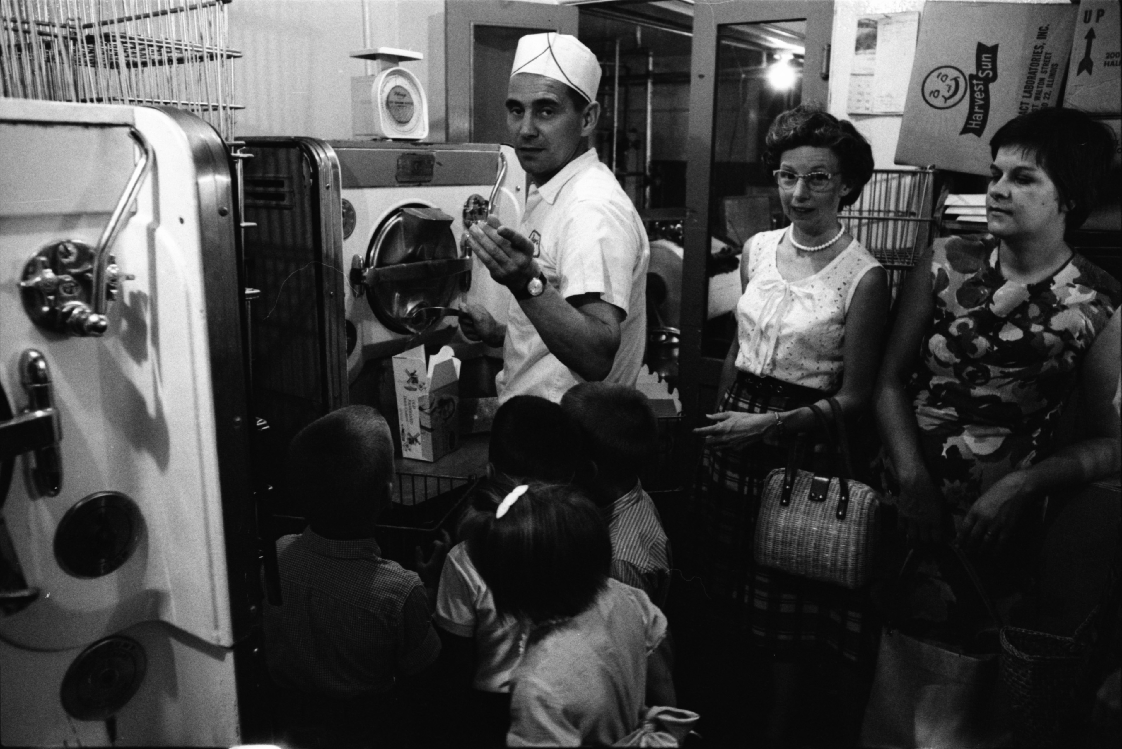 Children From Ann Arbor Cooperative Nursery & Mothers Wait For Ice Cream At Bolgos Dairy, July 3, 1964 image