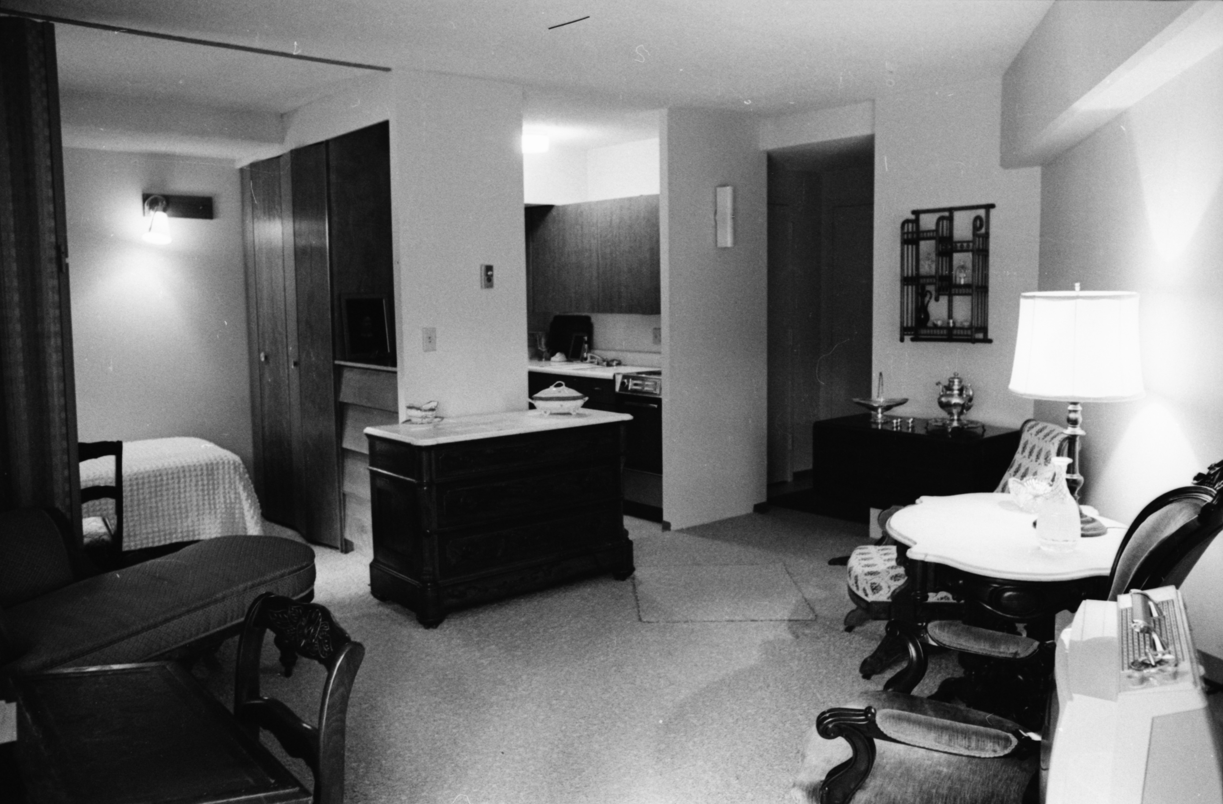 Interior of a flexible style apartment in completed Lurie Terrace, October 1964	 image