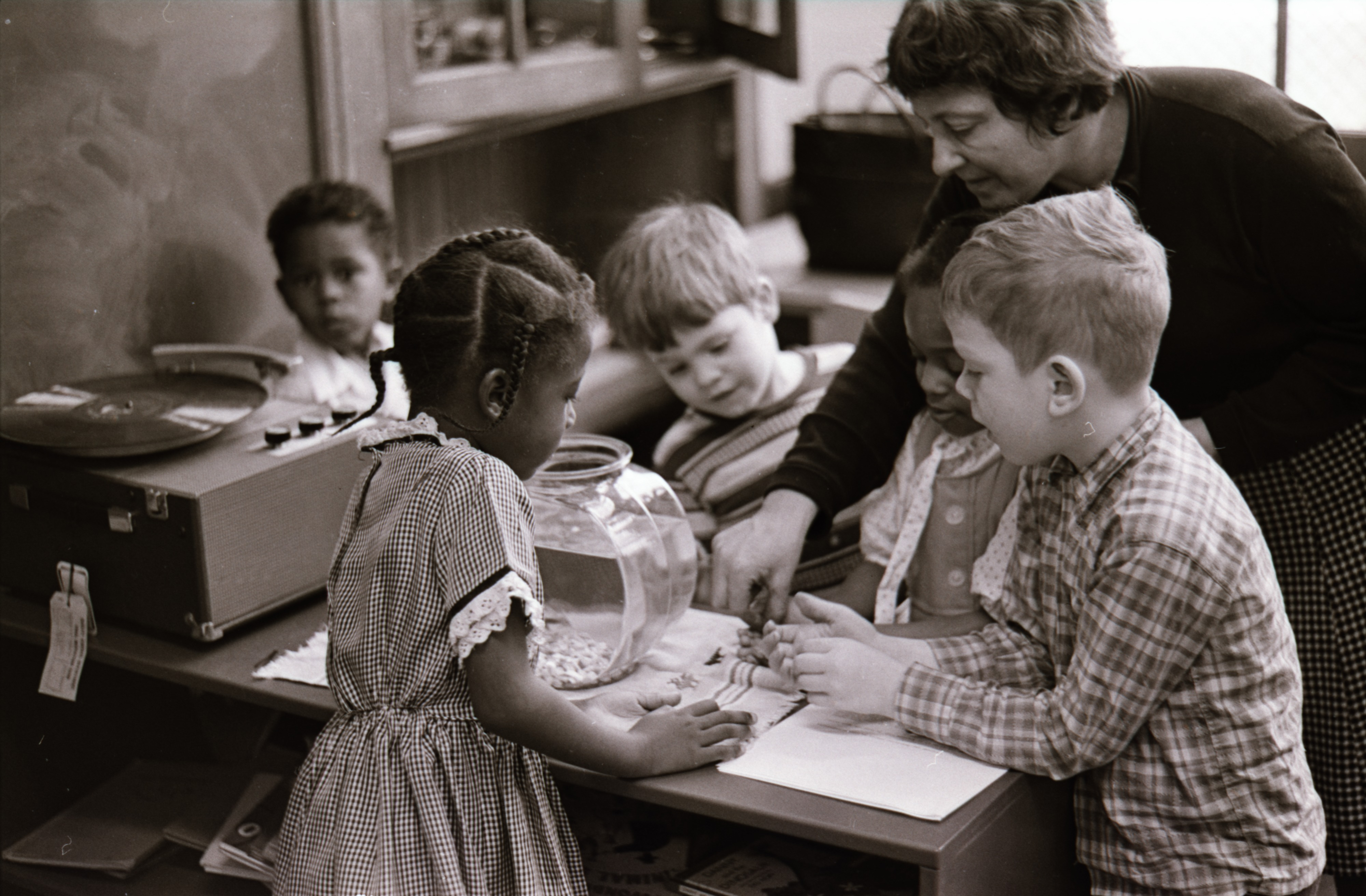 Jones Elementary School Pre-Kindergarten Class With Teacher, Anne Shain- Learning About Aquariums, March 1965 image